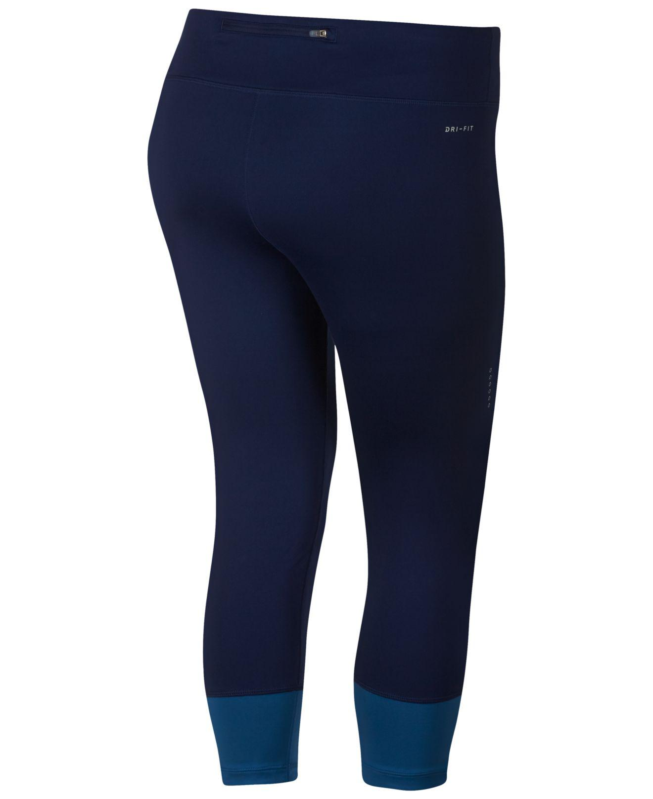 06b73360612 Lyst - Nike Plus Size Power Essential Running Crop Pants in Blue