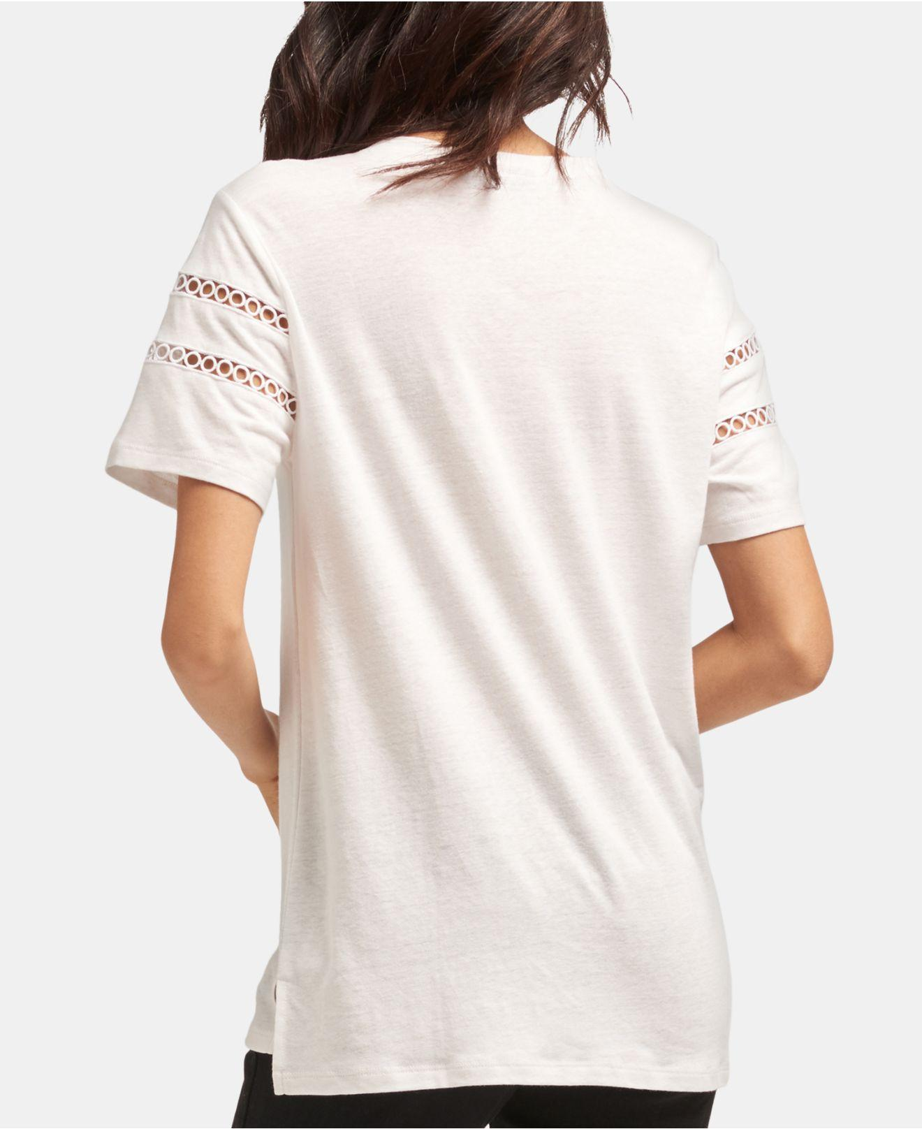 f3232cd25dc Lyst - DKNY Short-sleeve Crewneck Cutout-detail Top in White