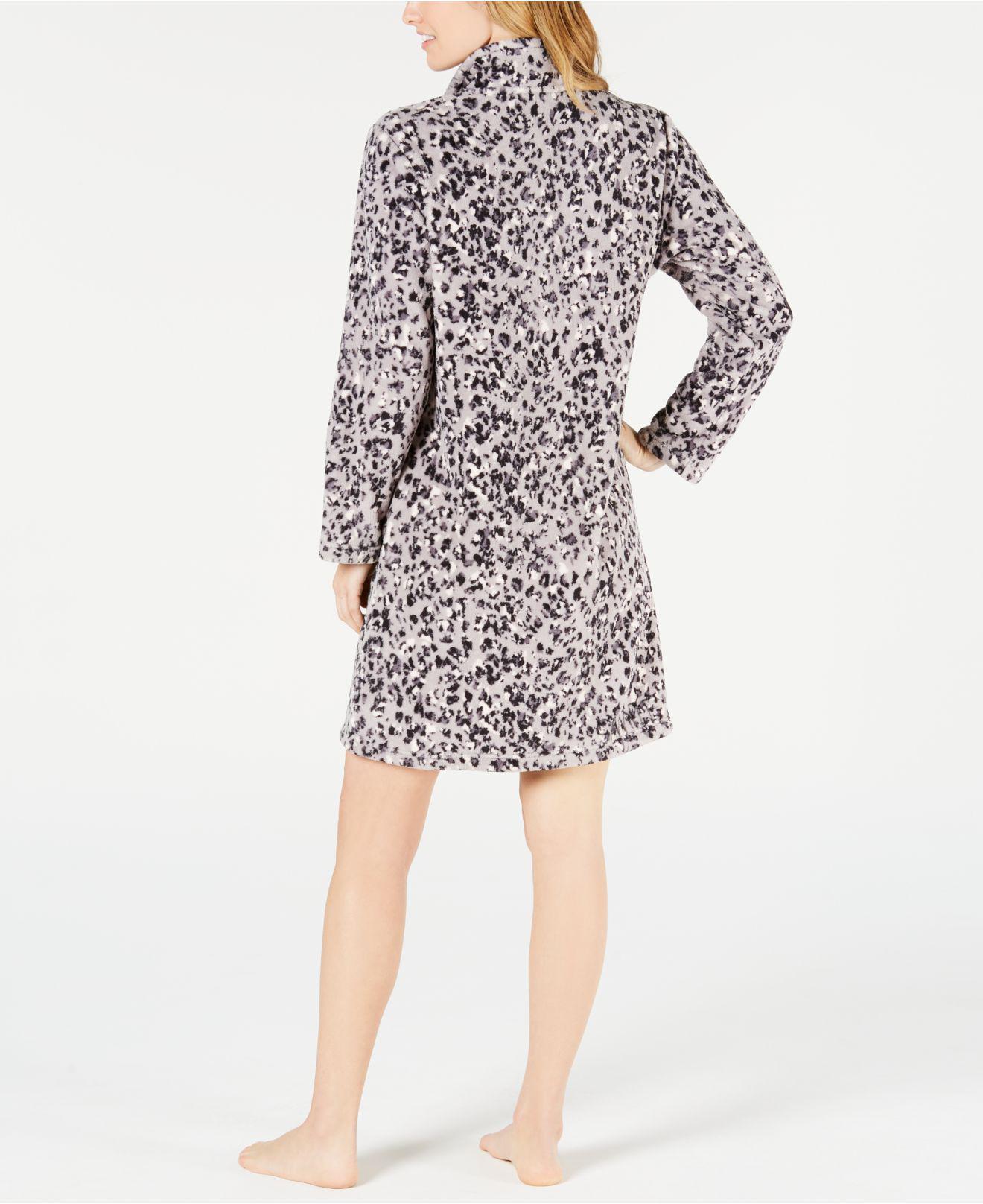 Lyst - Miss Elaine Printed Fleece Short Zip Robe in Gray 940339325