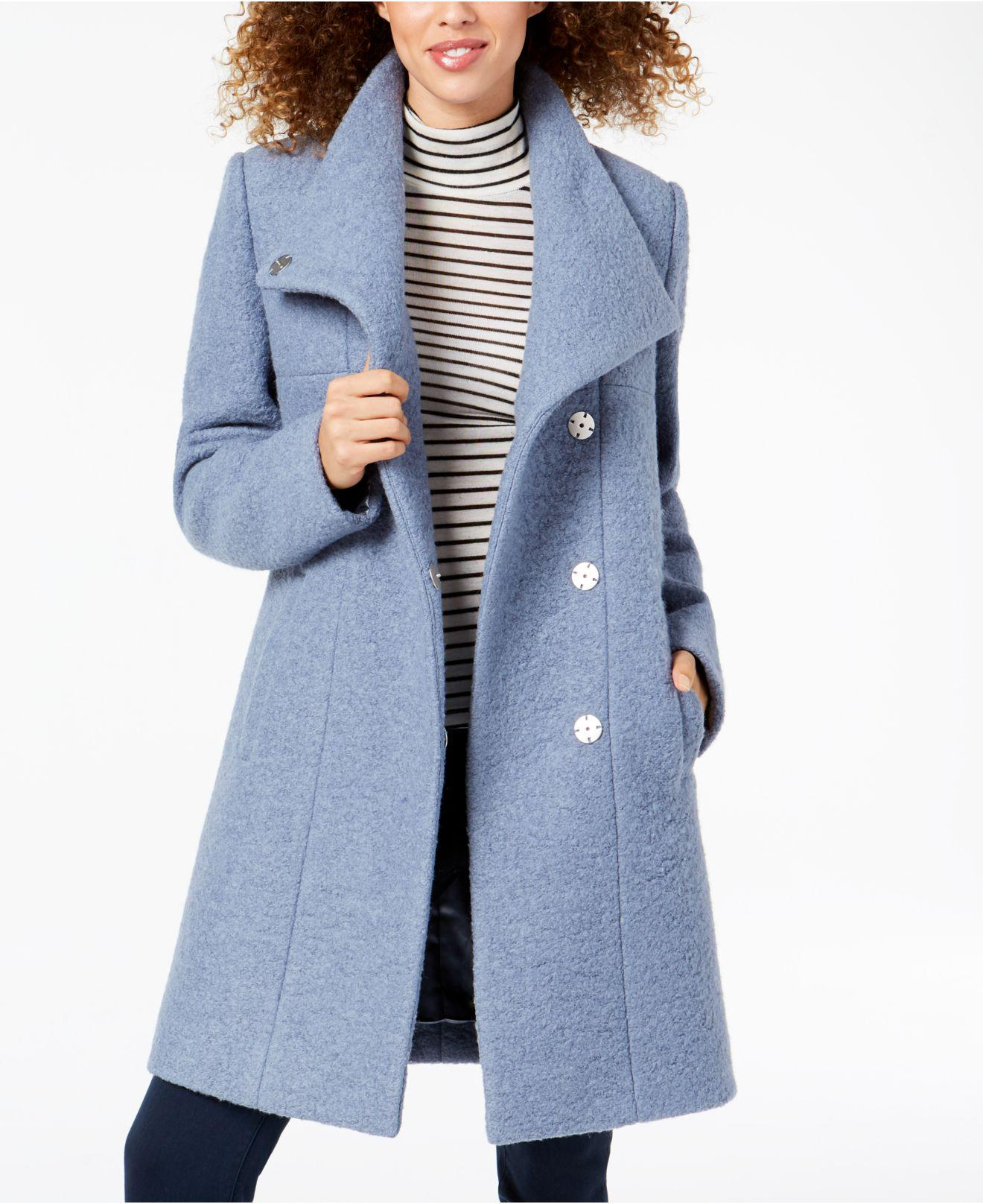 Kenneth Cole Womens Asymmetrical Pressed Boucle Wool Coat