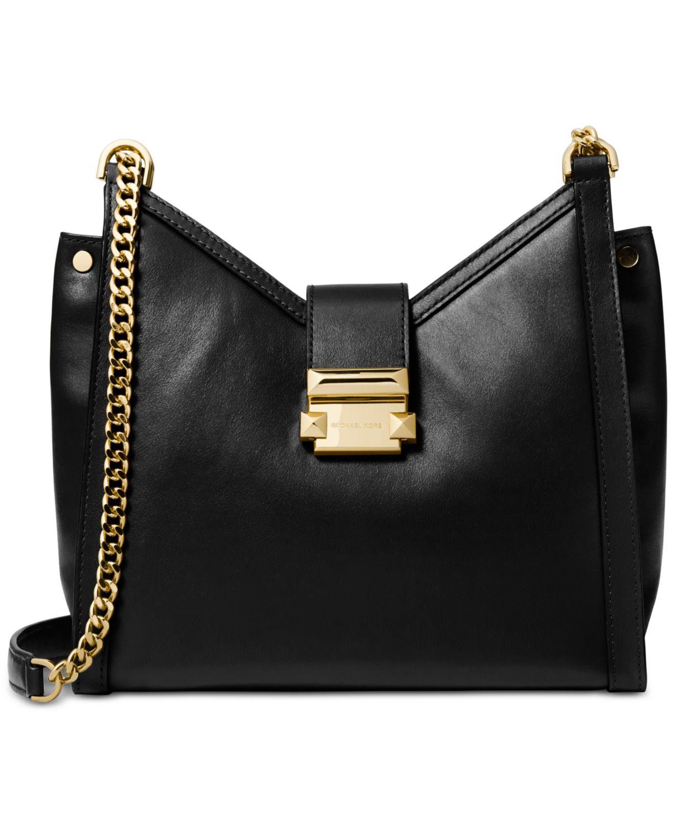 bb1622deef33d Michael Kors. Women s Black Michael Whitney Polished Leather Chain Shoulder  Tote