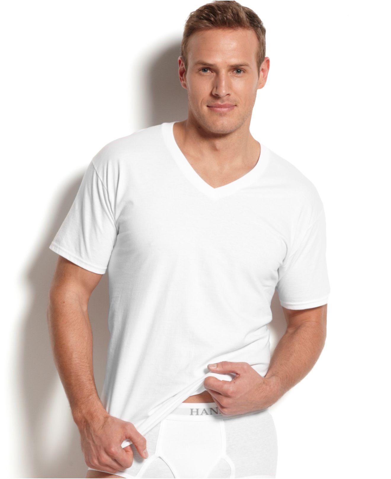 ba8e8af1 Hanes. Men's White Platinum Freshiqtm Underwear,5 Pack V-neck Undershirts