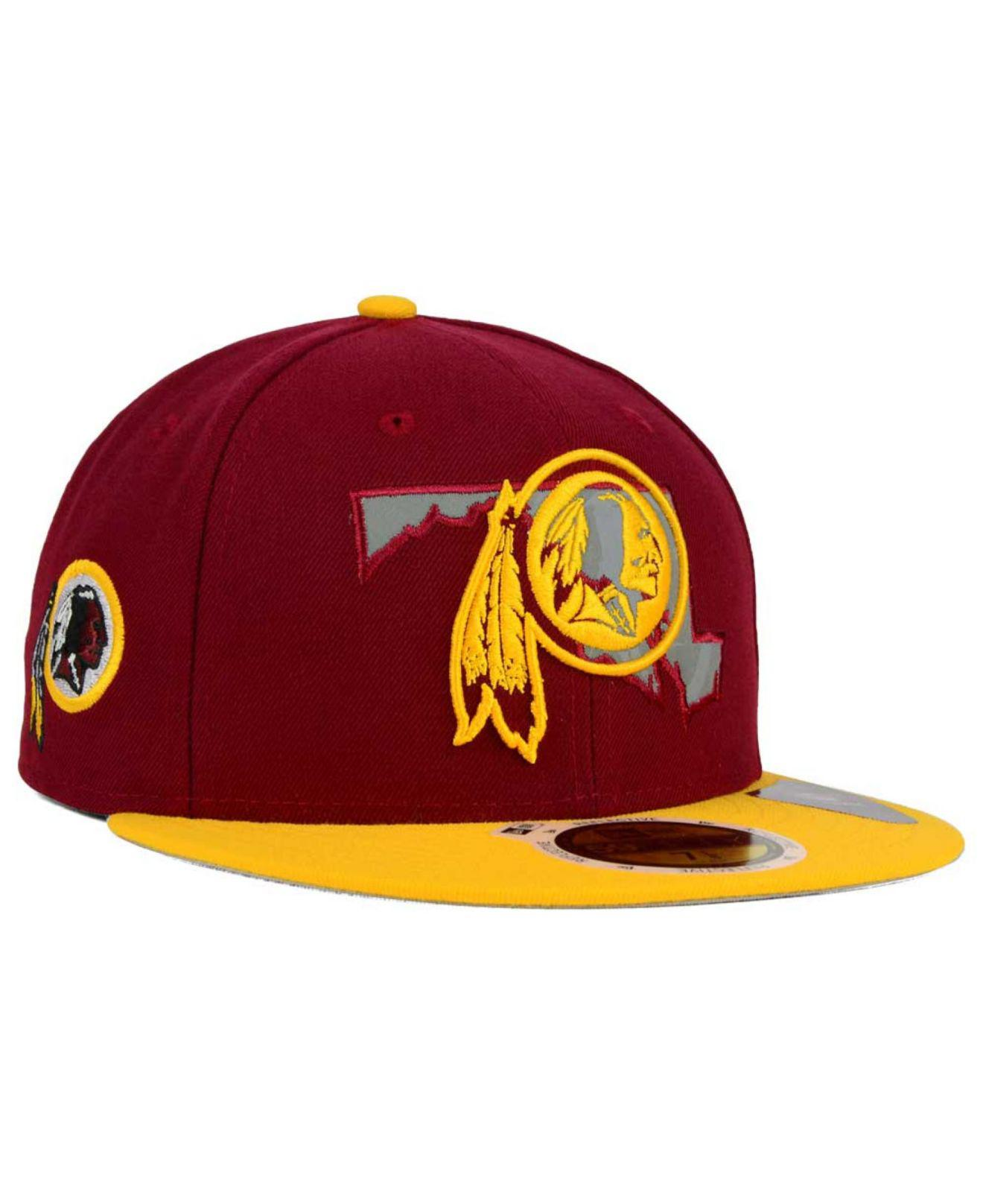 official photos e6057 ac665 KTZ Washington Redskins State Flective Redux 59fifty Cap in Red for ...