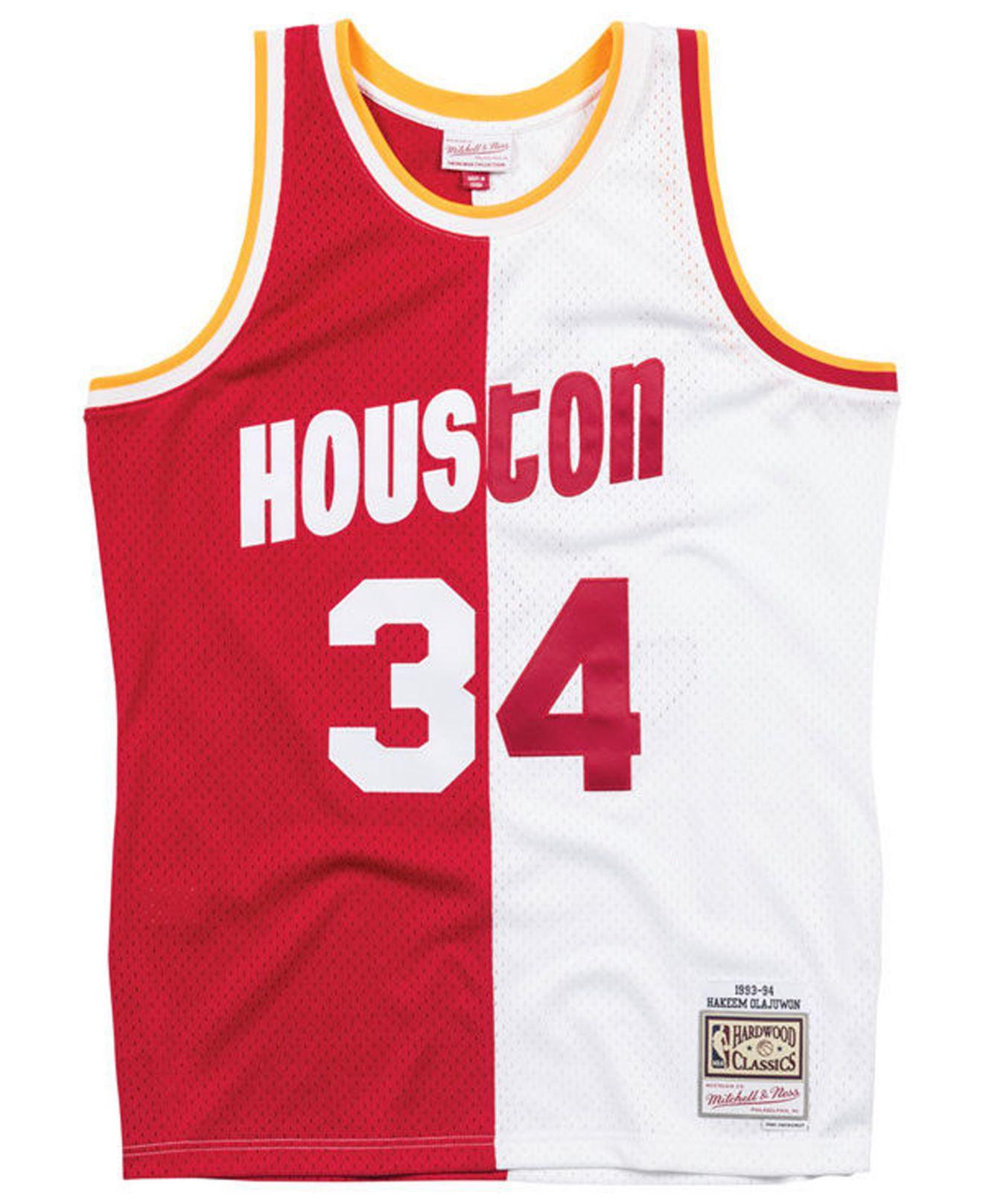 timeless design 2c392 ad8ed Mitchell   Ness - Red Hakeem Olajuwon Houston Rockets Split Swingman Jersey  for Men - Lyst. View fullscreen
