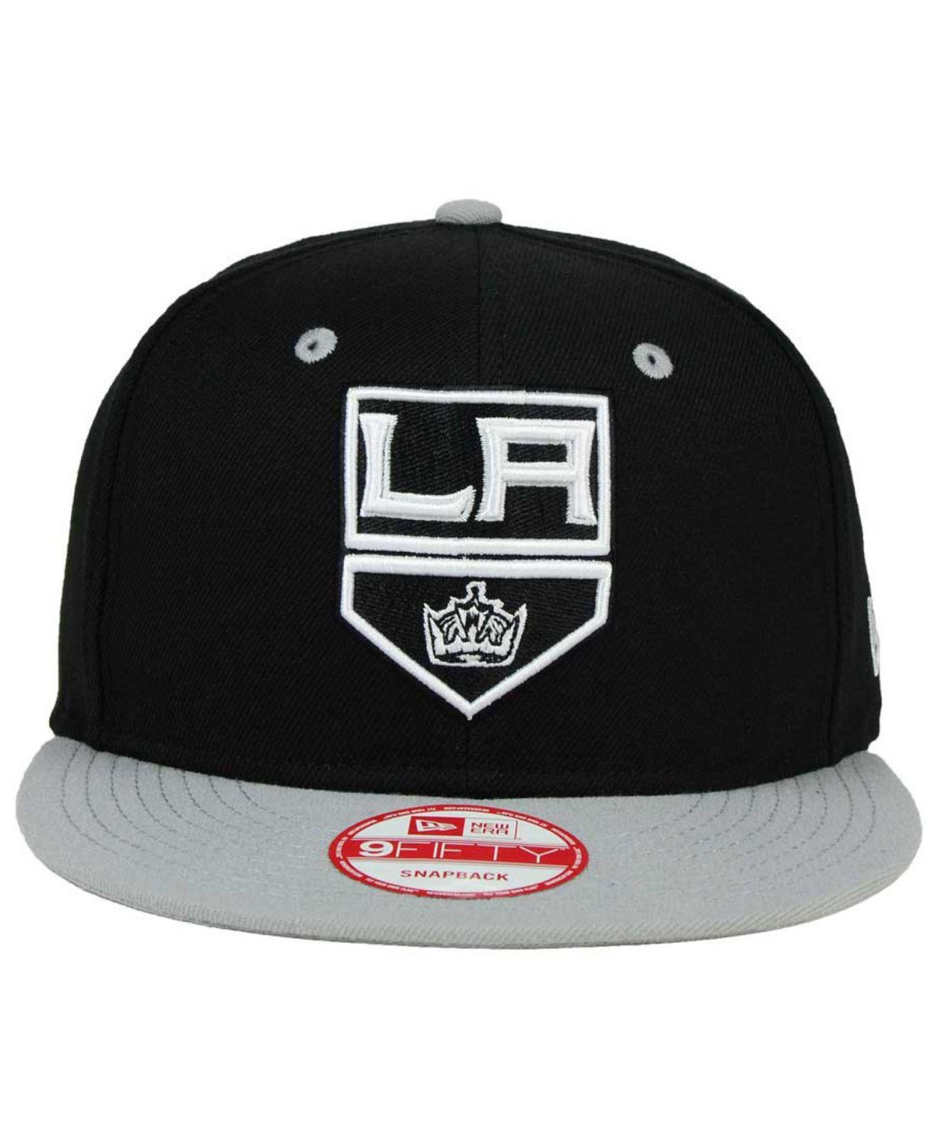 df5185d90d7 Lyst - Ktz Los Angeles Kings Black White Team Color 9fifty Snapback Cap in  Gray for Men