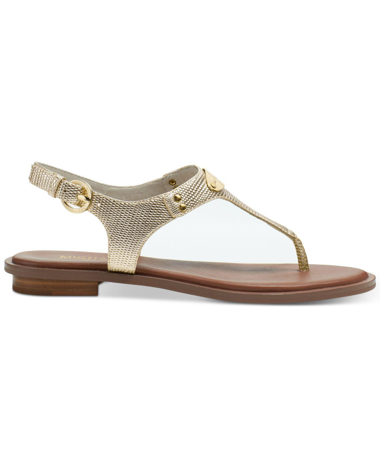 9a5da3035edb2 Michael Kors Michael Mk Plate Flat Thong Sandals in Metallic - Save 4% -  Lyst