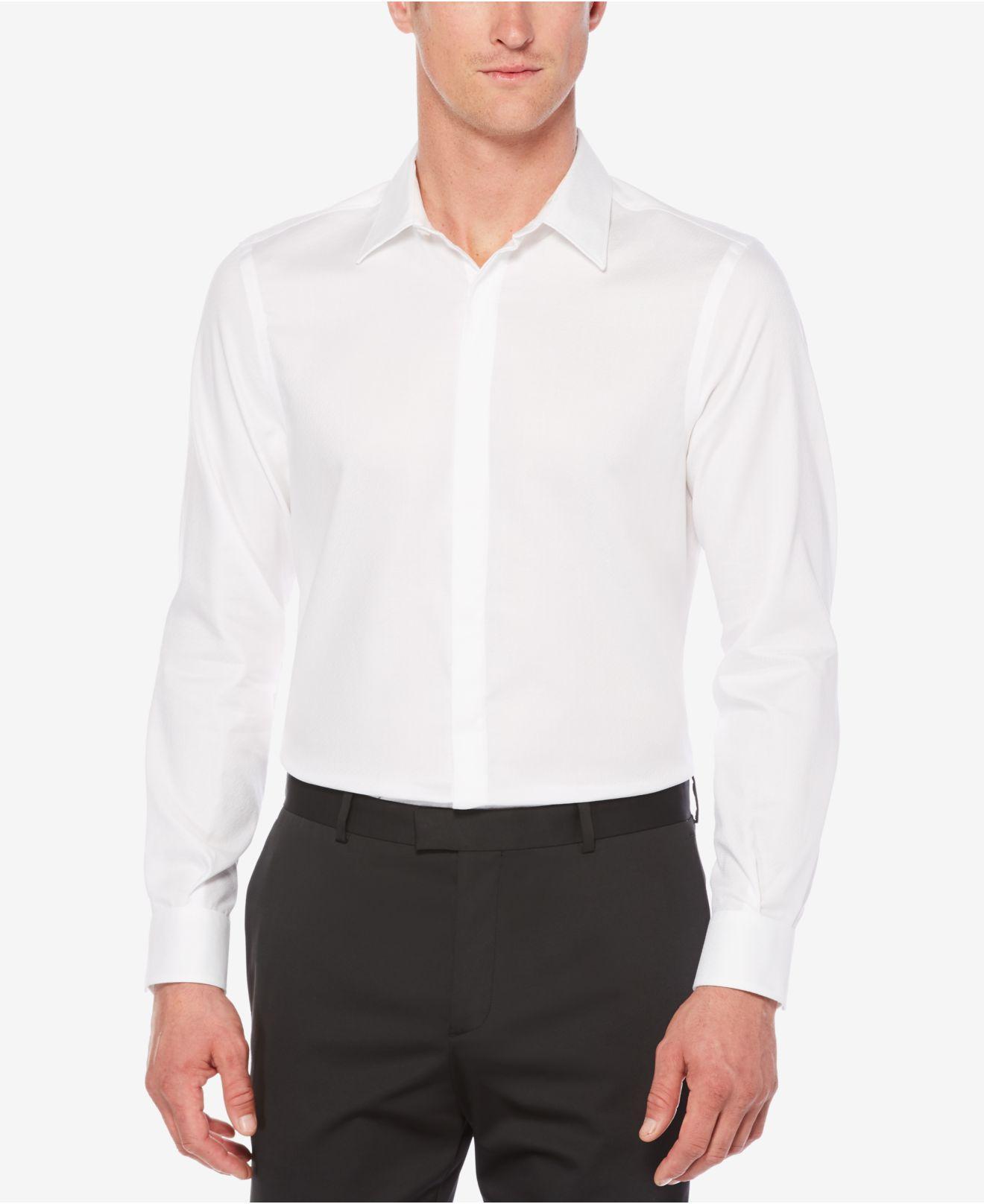 Lyst Perry Ellis Men 39 S Solid White Hidden Placket Shirt
