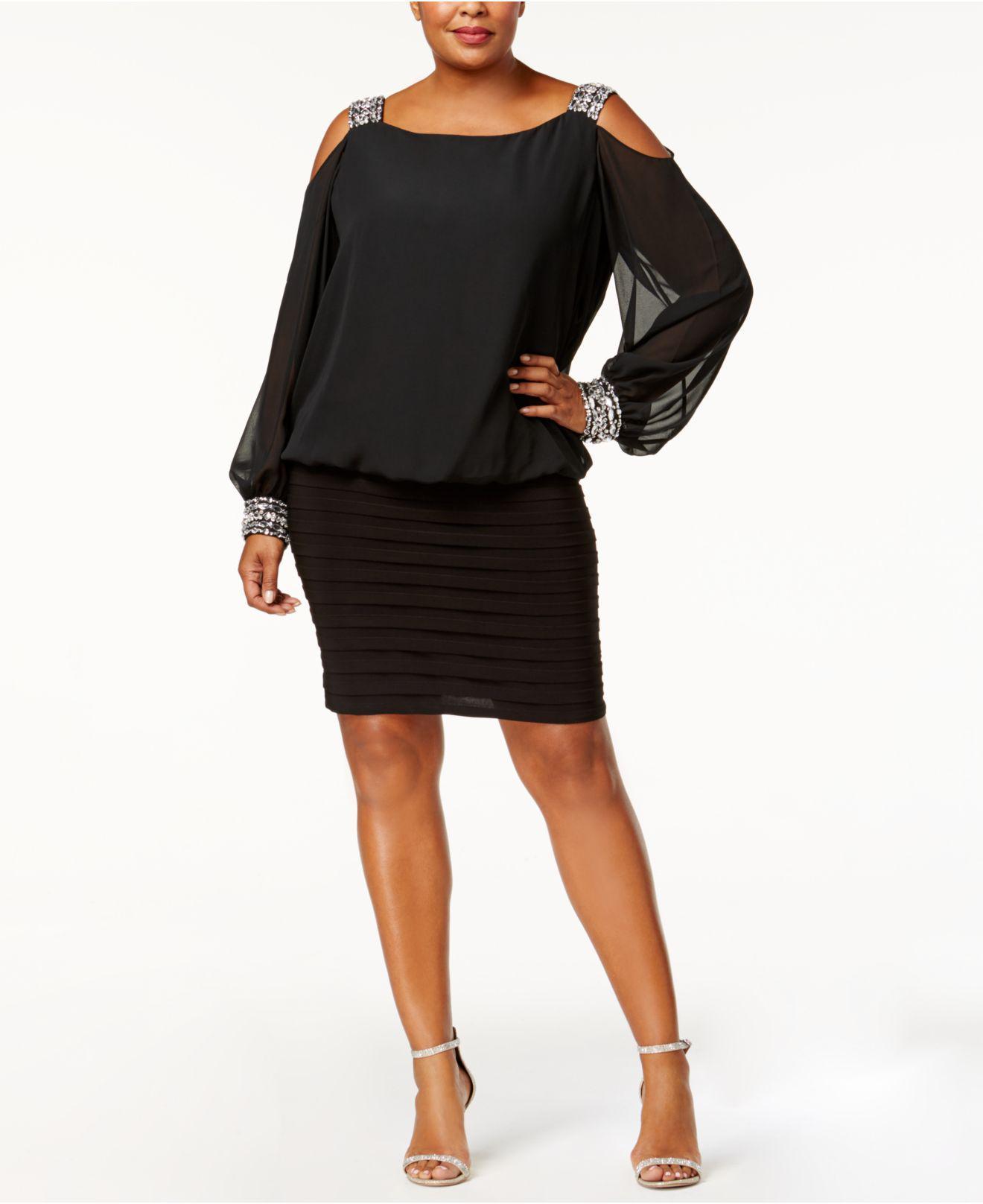 febd9e1a2fd Betsy   Adam. Women s Black Plus Size Cold-shoulder Embellished Blouson  Dress