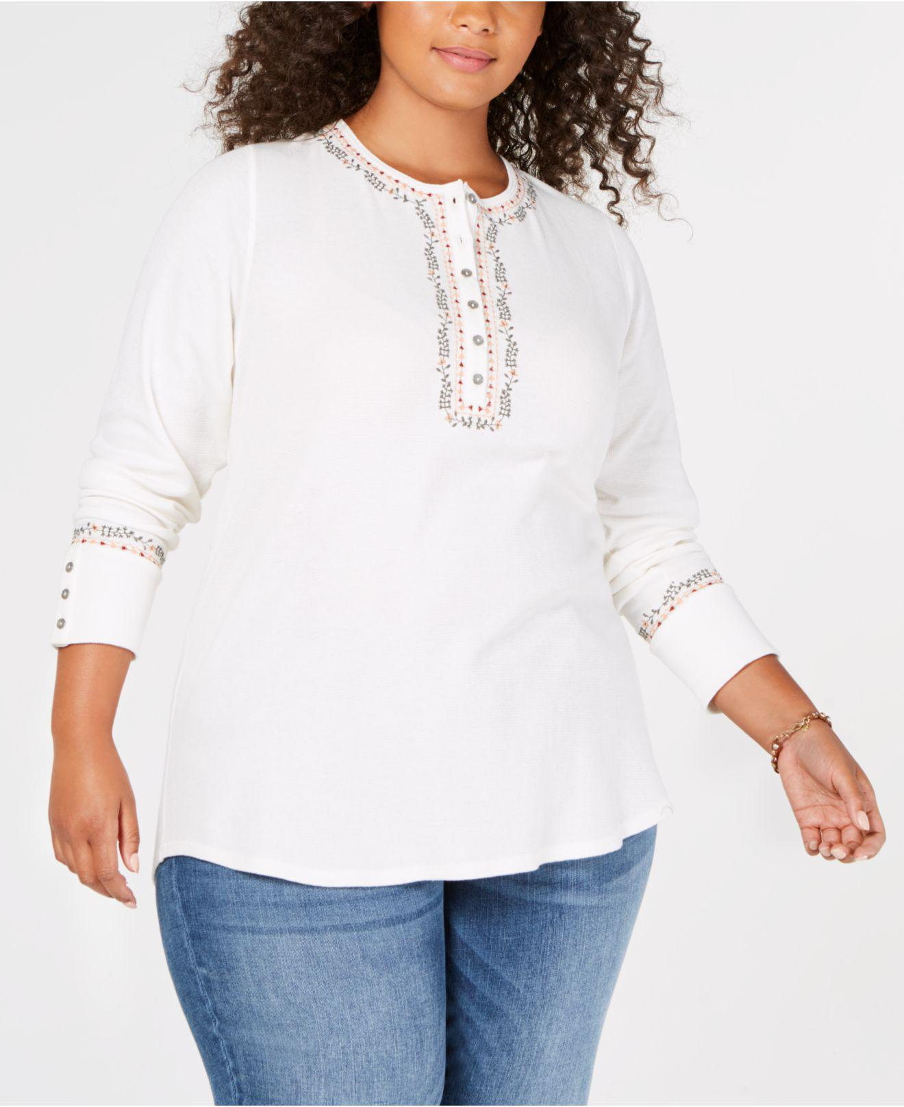 159b388fc01a1 Lucky Brand. Women s White Trendy Plus Size Cotton Embroidered Henley Top