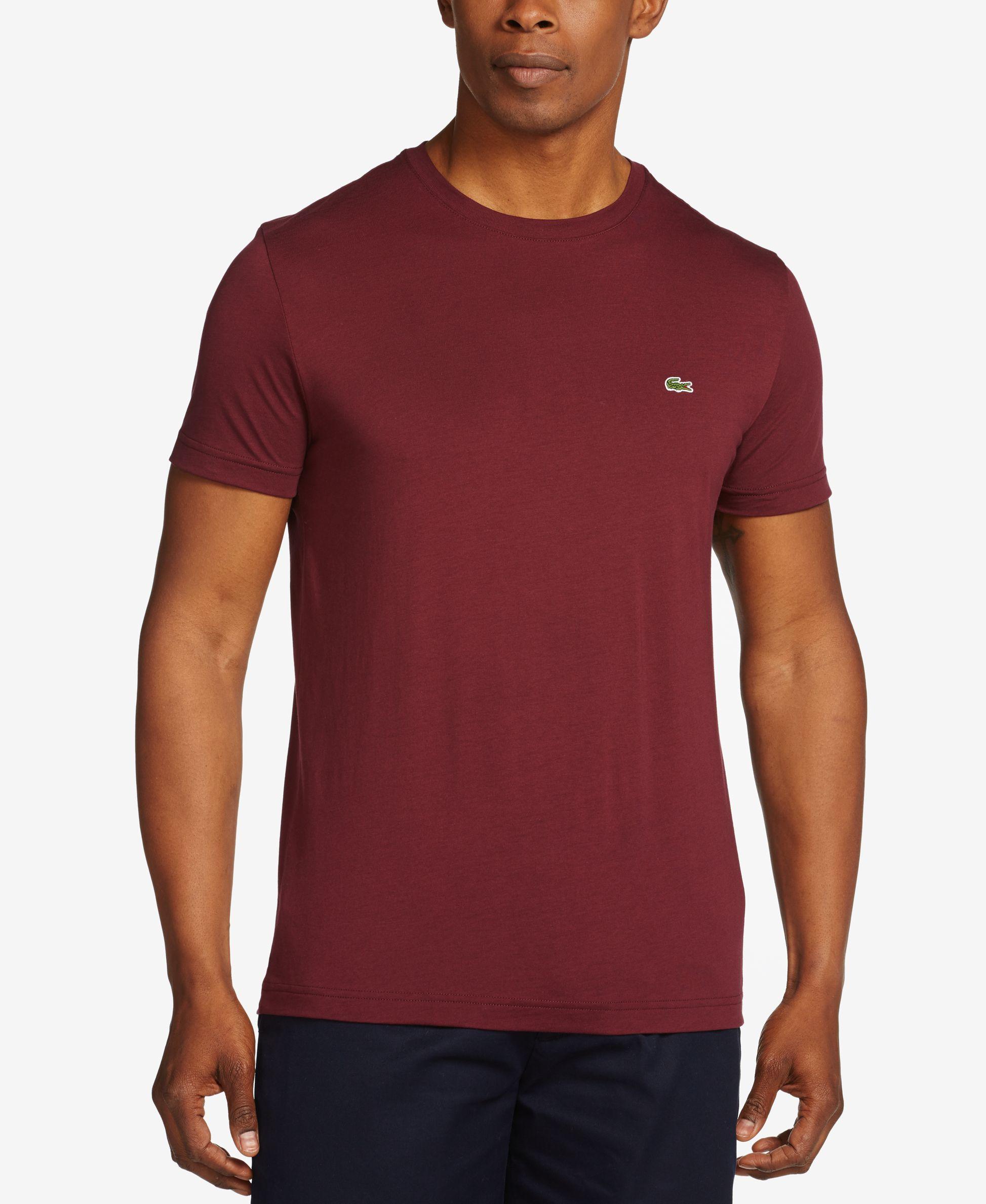 Lacoste men 39 s crew neck pima cotton t shirt in red for men for Pima cotton crew neck t shirt