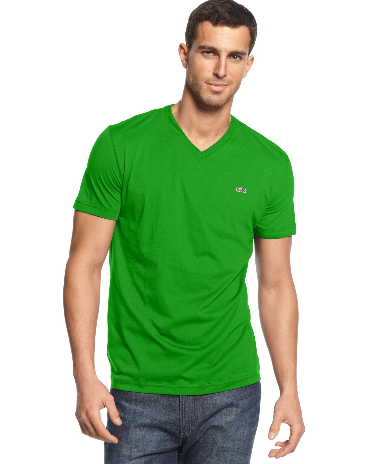 Lacoste core v neck pima cotton jersey t shirt in green for Green mens t shirt