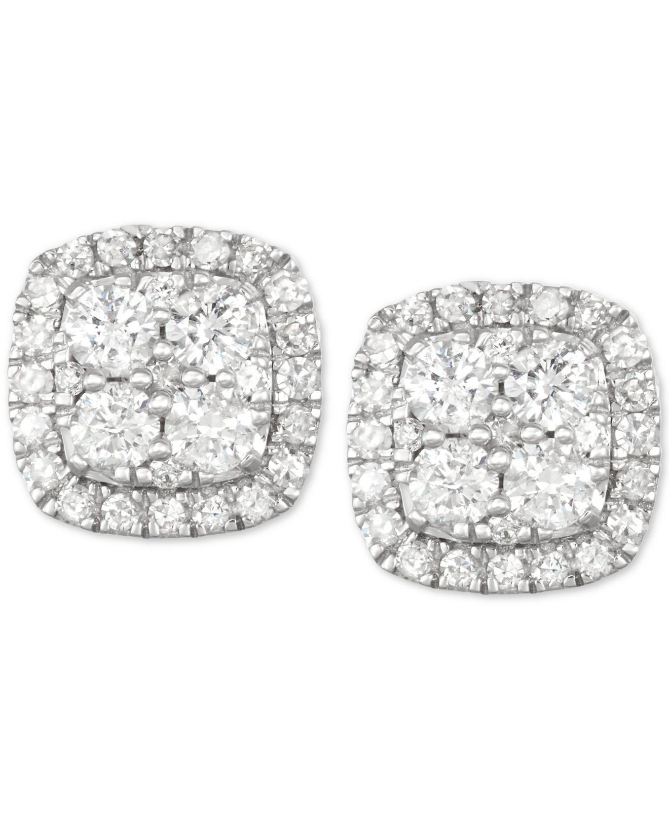 7eb40f62a Lyst - Macy's Diamond Halo Stud Earrings (1/2 Ct. T.w.) In 14k White Gold  in Metallic