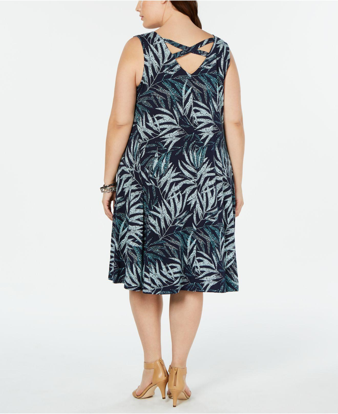 Women\'s Plus Size Printed Sleeveless Swing Dress, Created For Macy\'s