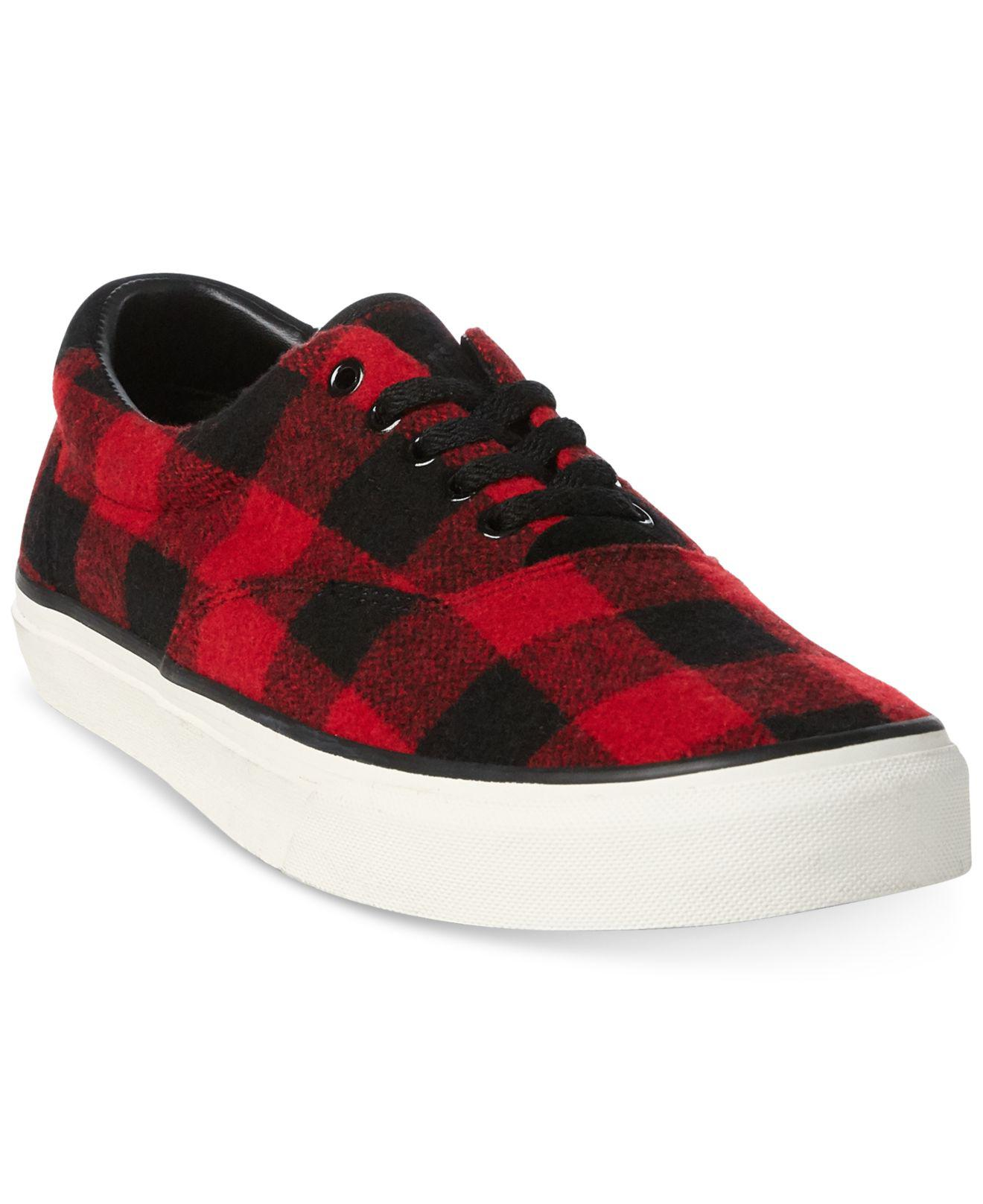 5b9516d3807 Lyst - Polo Ralph Lauren Thorton Check Sneakers in Red for Men
