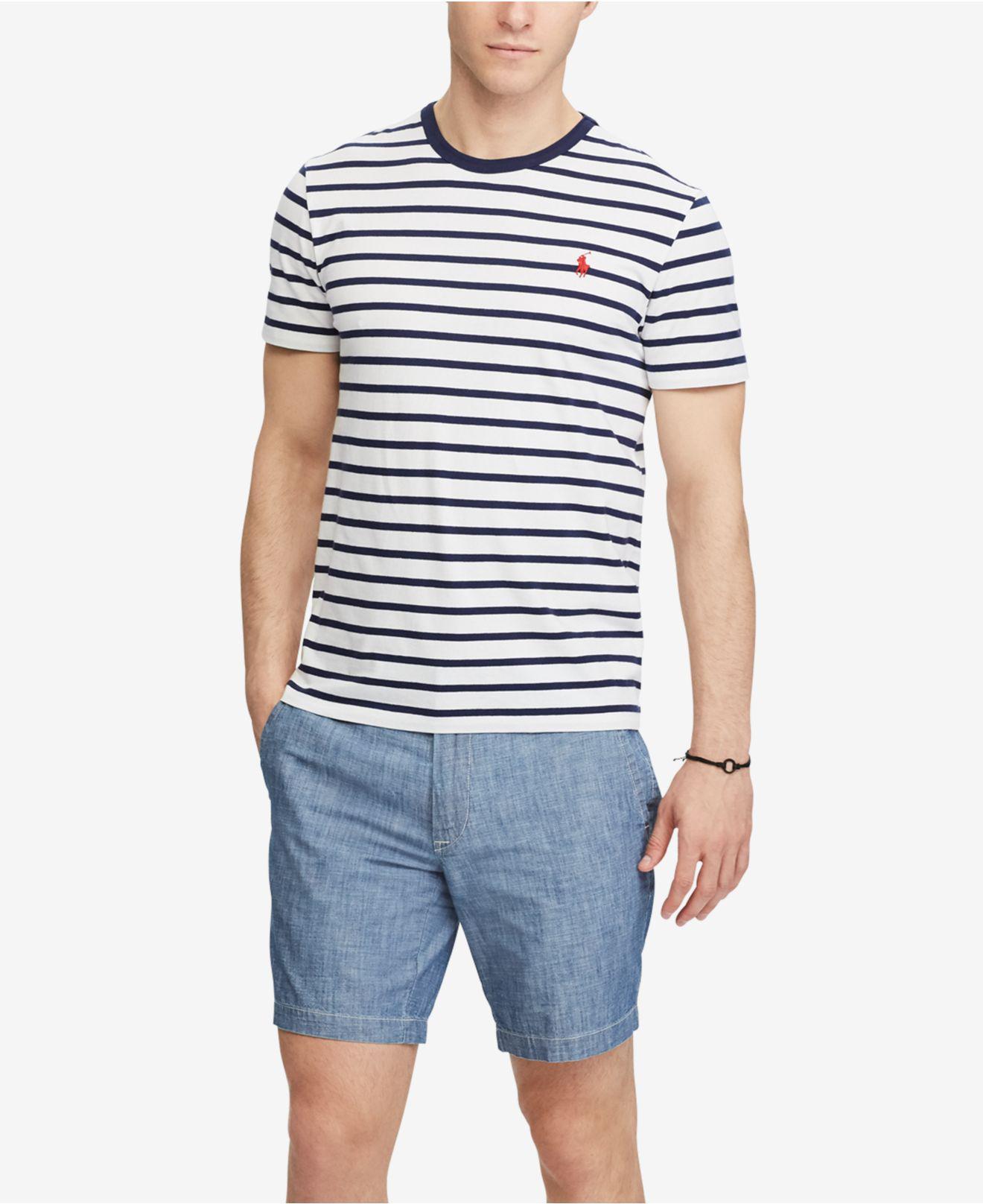 7c2182caa Polo Ralph Lauren Men's Custom Slim Fit Striped Cotton T-shirt in ...