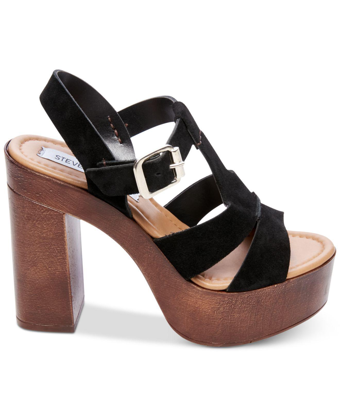 f8e0399a8168 Steve Madden Lucile T-strap Platform Sandal in Black - Lyst