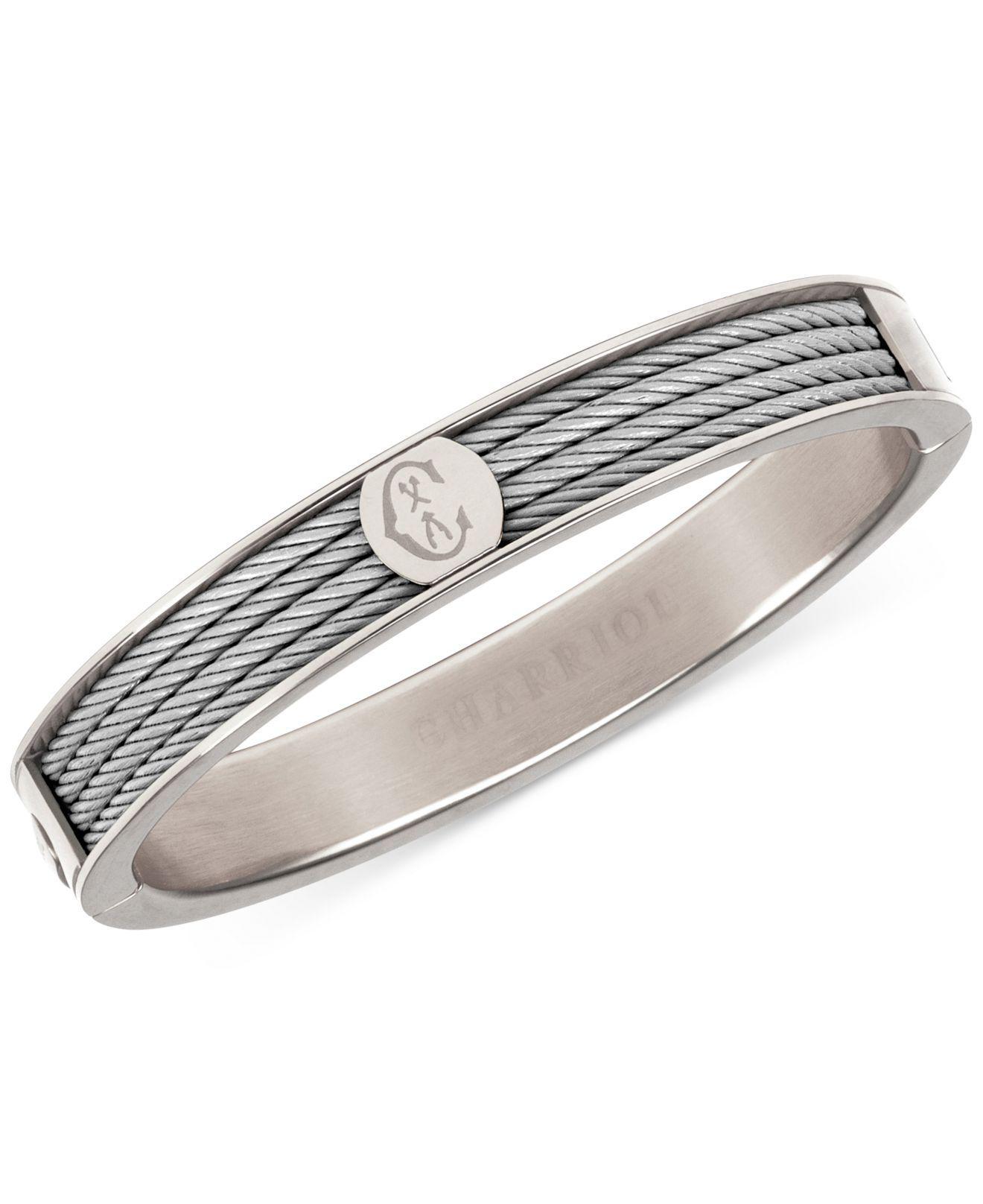 Lyst - Charriol Logo Bangle Bracelet In Stainless Steel in Metallic