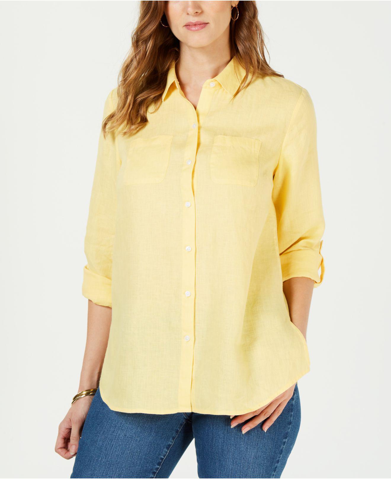 bef11a9f0ea Lyst - Charter Club Petite Linen Button-front Shirt
