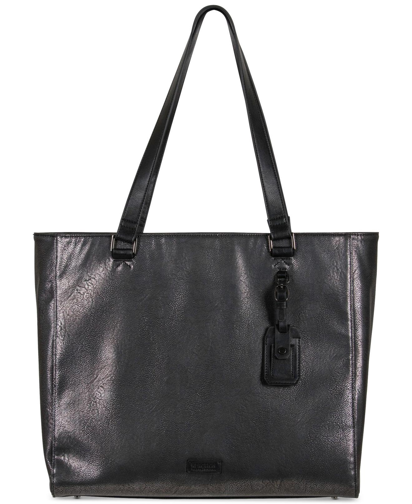 f3b039a5f0 Kenneth Cole Reaction Tote-ally Silver Faux-leather Tote in Black - Lyst