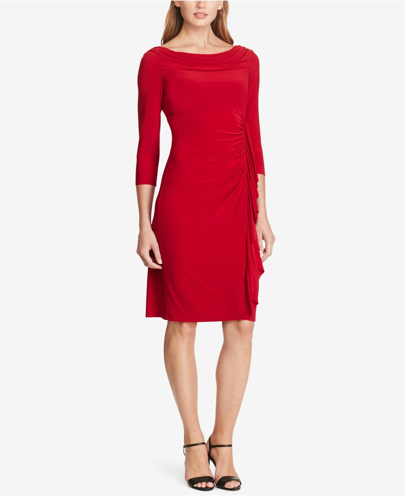 Lyst American Living Ruffled Jersey Dress In Red