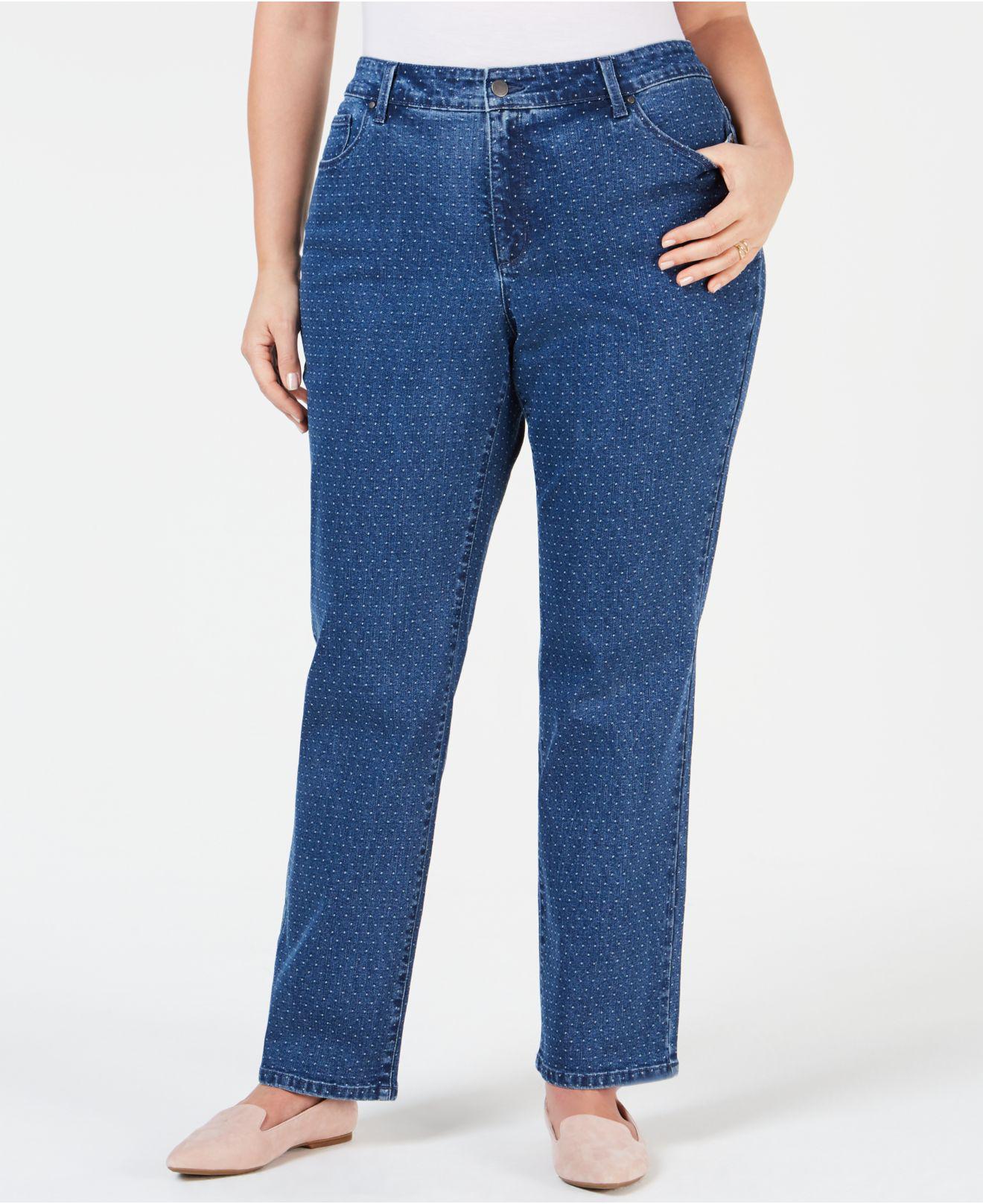 58bb1ff5a00 Charter Club. Women s Blue Plus Size Dot-print Tummy-control Jeans ...