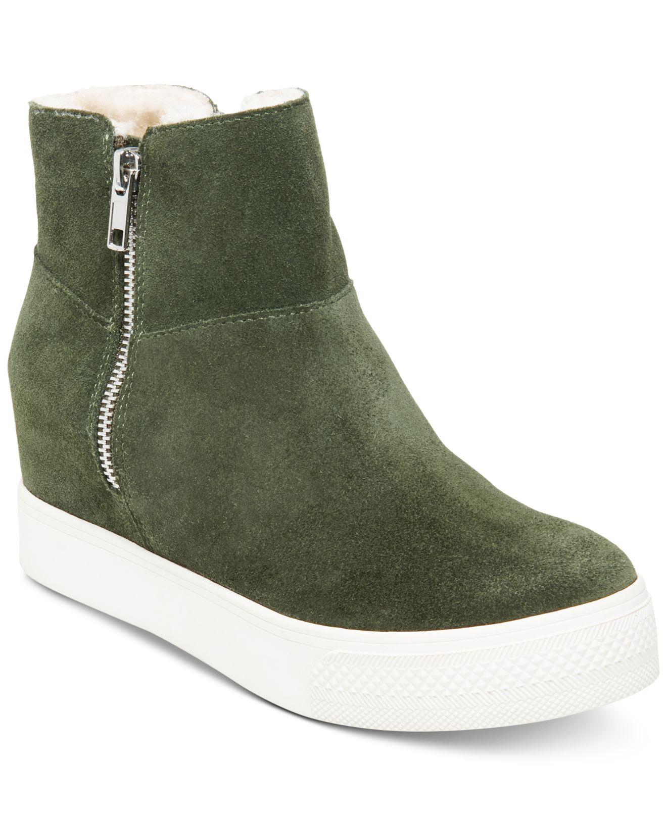 d00a8f957e5 Lyst - Steve Madden Wanda Faux-fur Wedge Sneakers in Green - Save 58%
