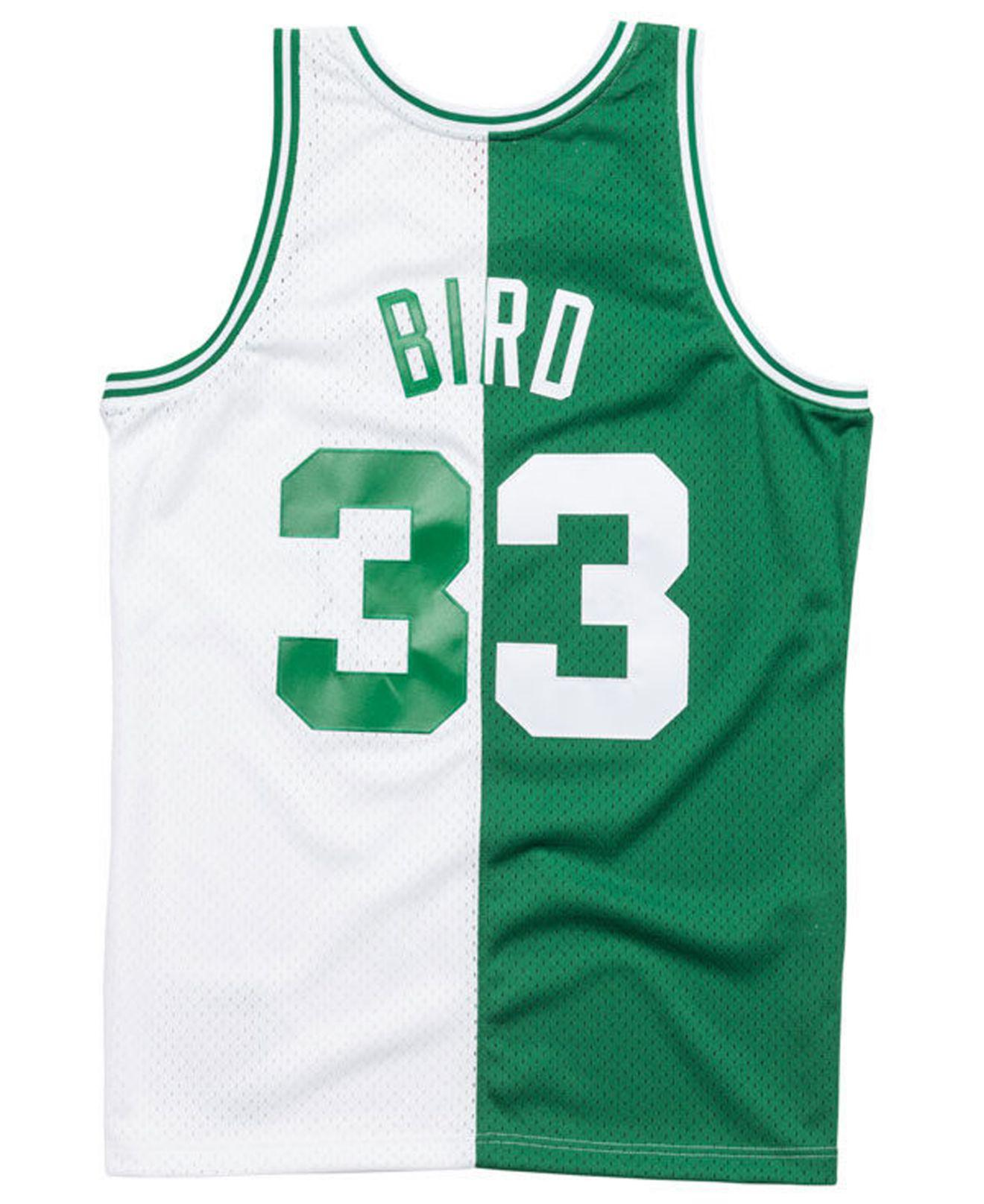 new style c942e 335d7 Men's Green Larry Bird Boston Celtics Split Swingman Jersey