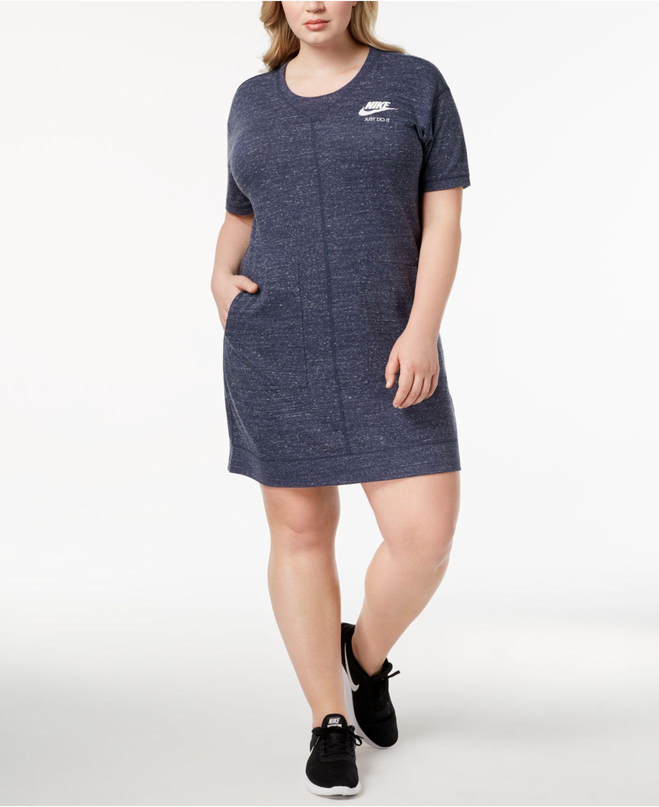 Women\'s Blue Plus Size Sportswear Gym Vintage Dress