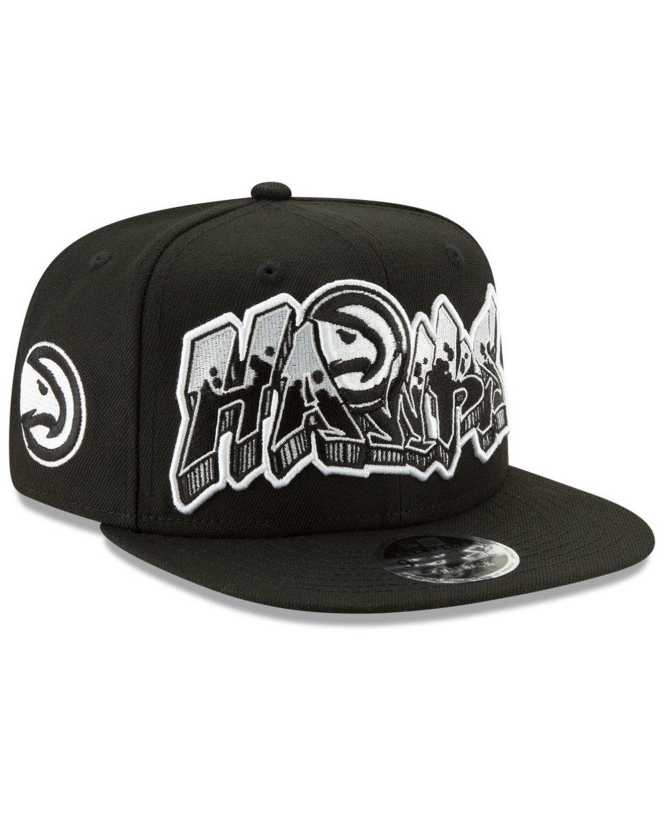 purchase cheap fa378 92923 ... promo code ktz atlanta hawks retroword black white 9fifty snapback cap  for men lyst. view