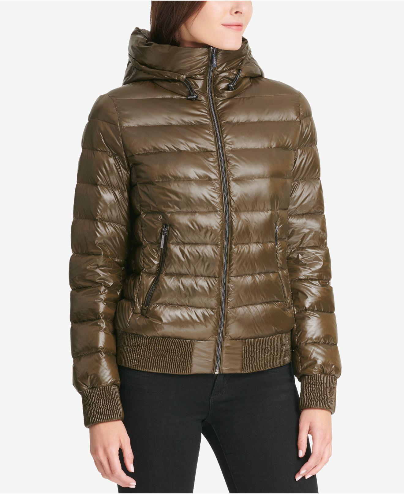 5497a5cd7 DKNY Multicolor Packable Hooded Bomber Puffer Coat