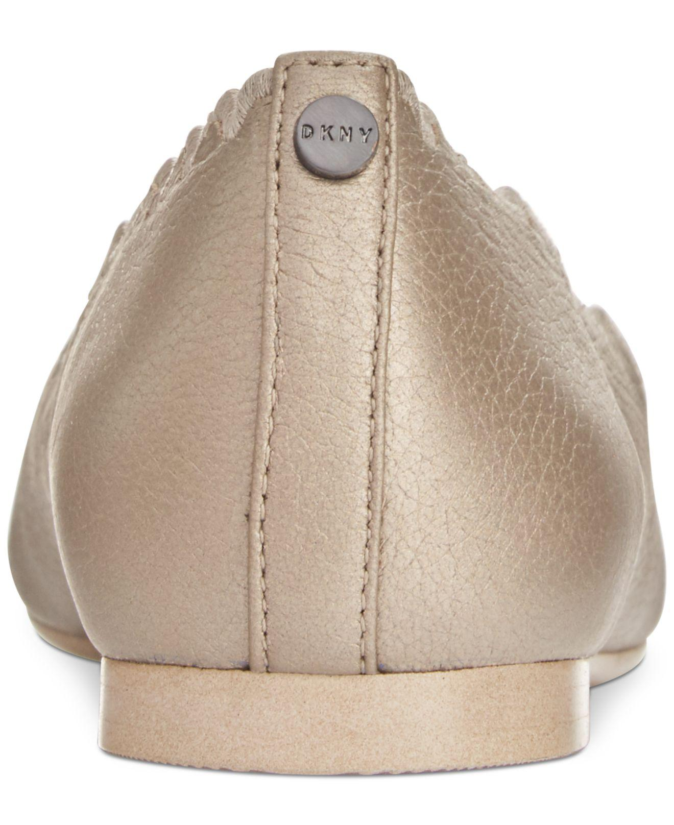 DKNY Leather Willow Flats in Khaki