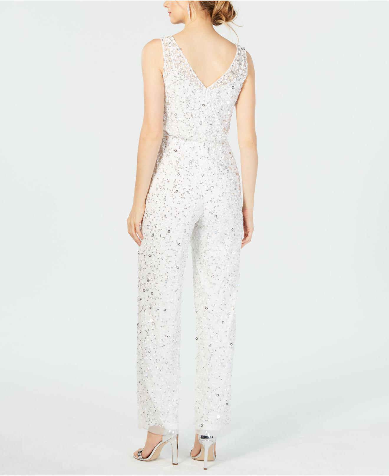 62d1bf68820 Lyst - Adrianna Papell Sequin-embellished Jumpsuit in White