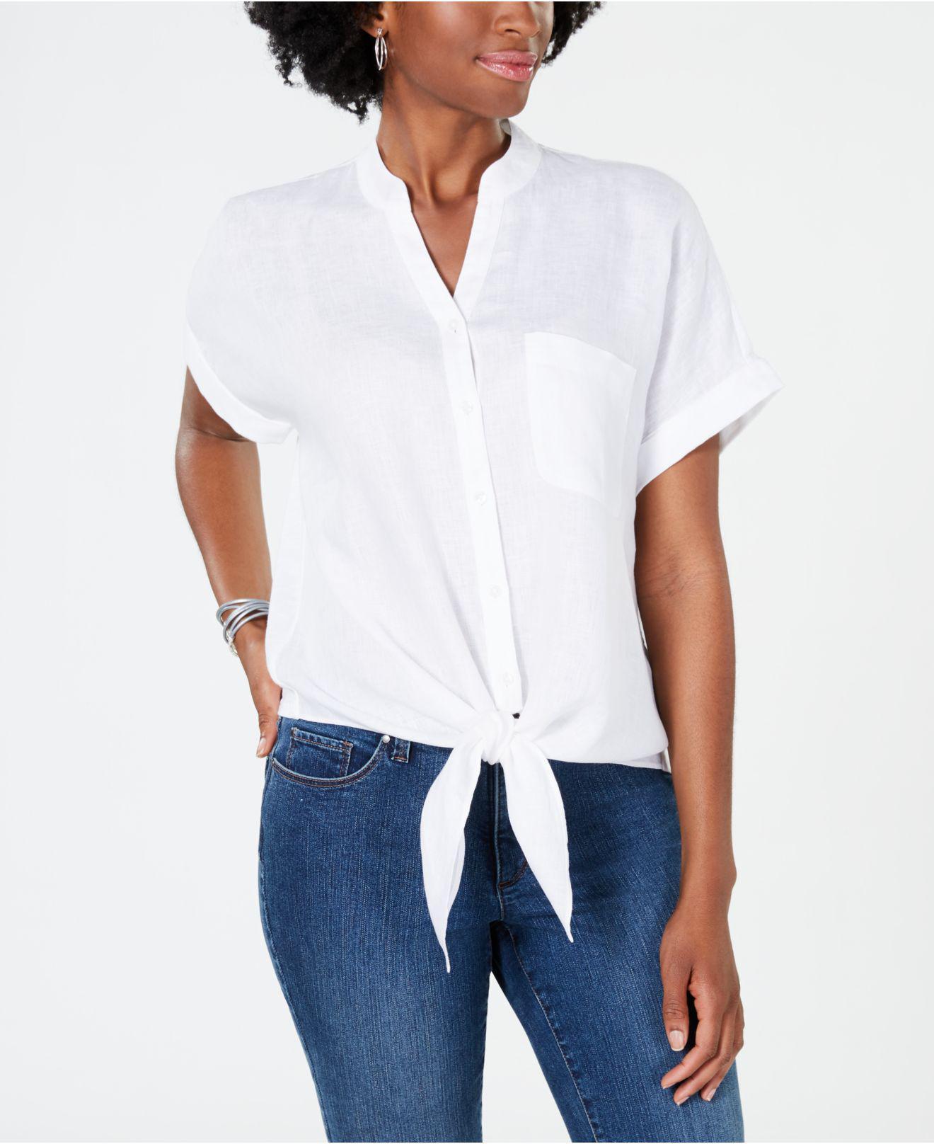e6557c818da30d Lyst - Charter Club Linen Tie-front Shirt