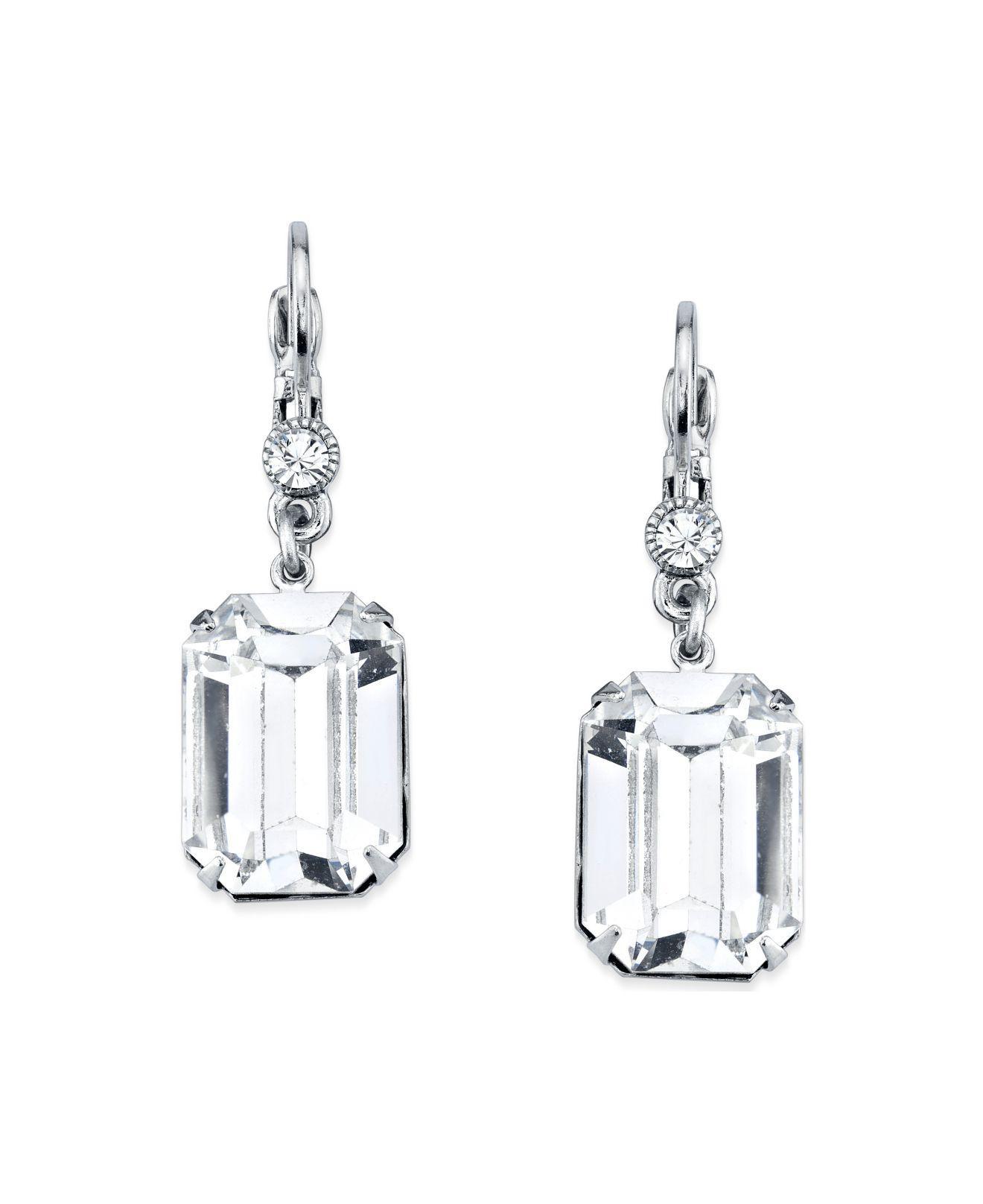 f9b39b9570b3 2028. Women s Metallic Silver-tone Genuine Swarovski Crystal Square Drop  Earrings