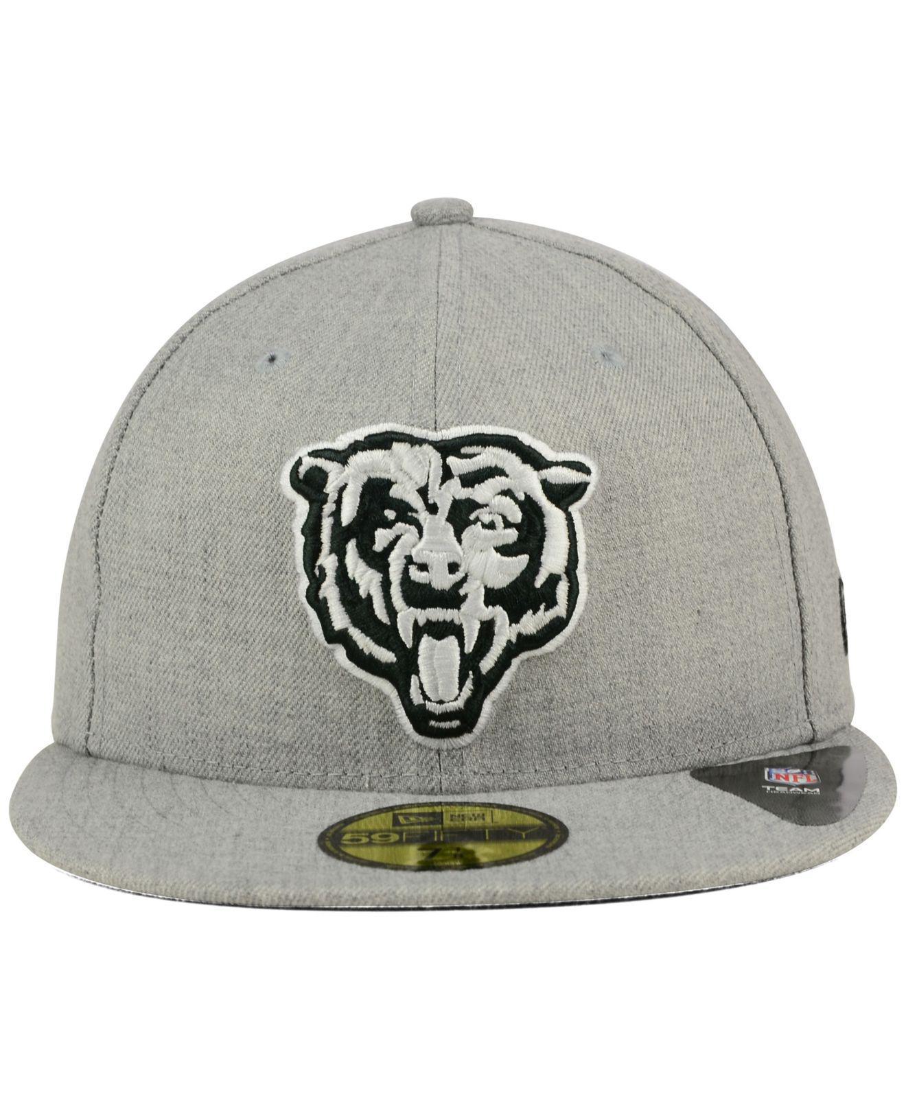 abb66e624f7 Lyst - KTZ Chicago Bears Heather Black White 59fifty Cap in Gray for Men