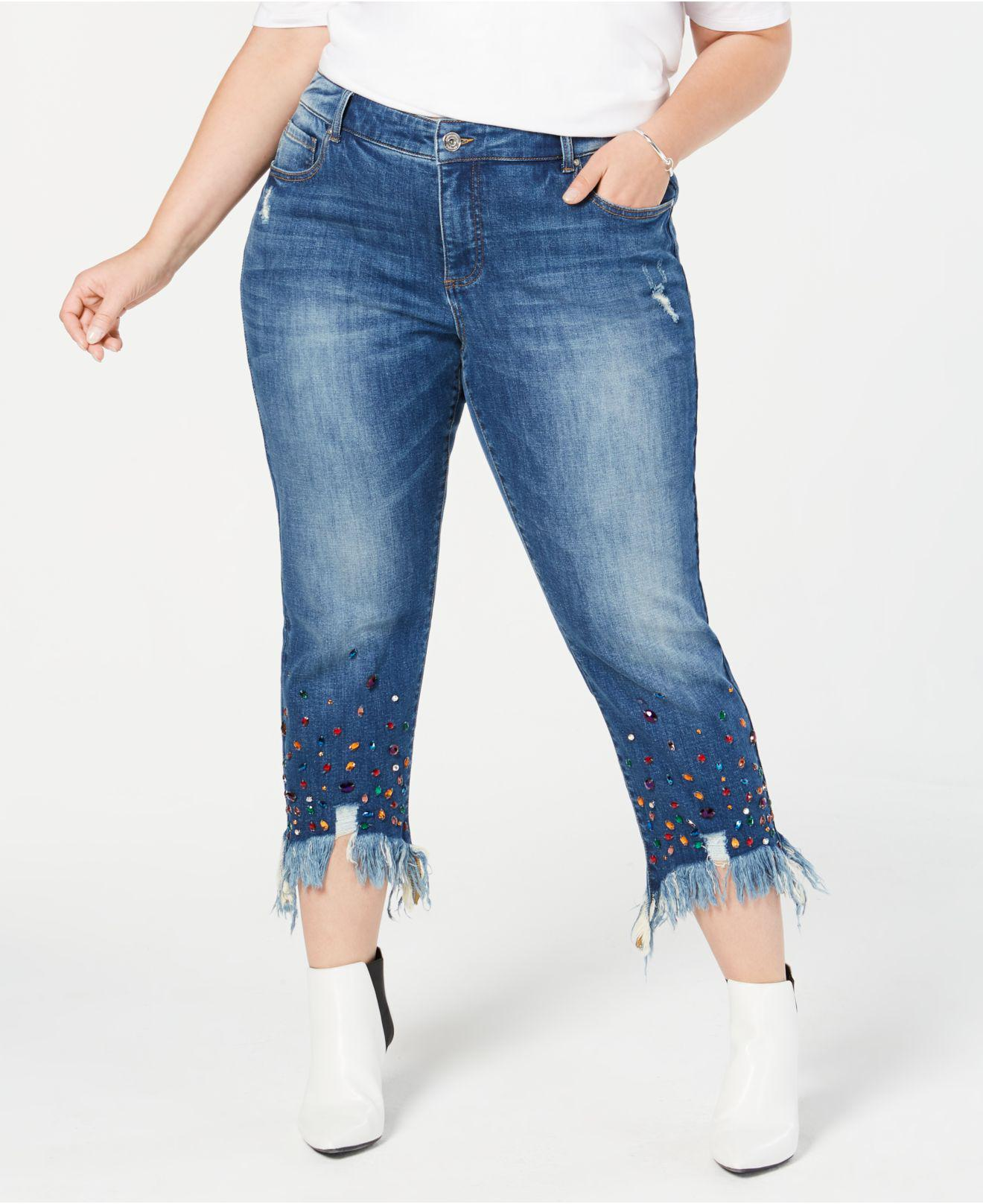 01fa147339216 INC International Concepts. Women s Blue I.n.c. Plus Size Studded Ankle-length  Jeans