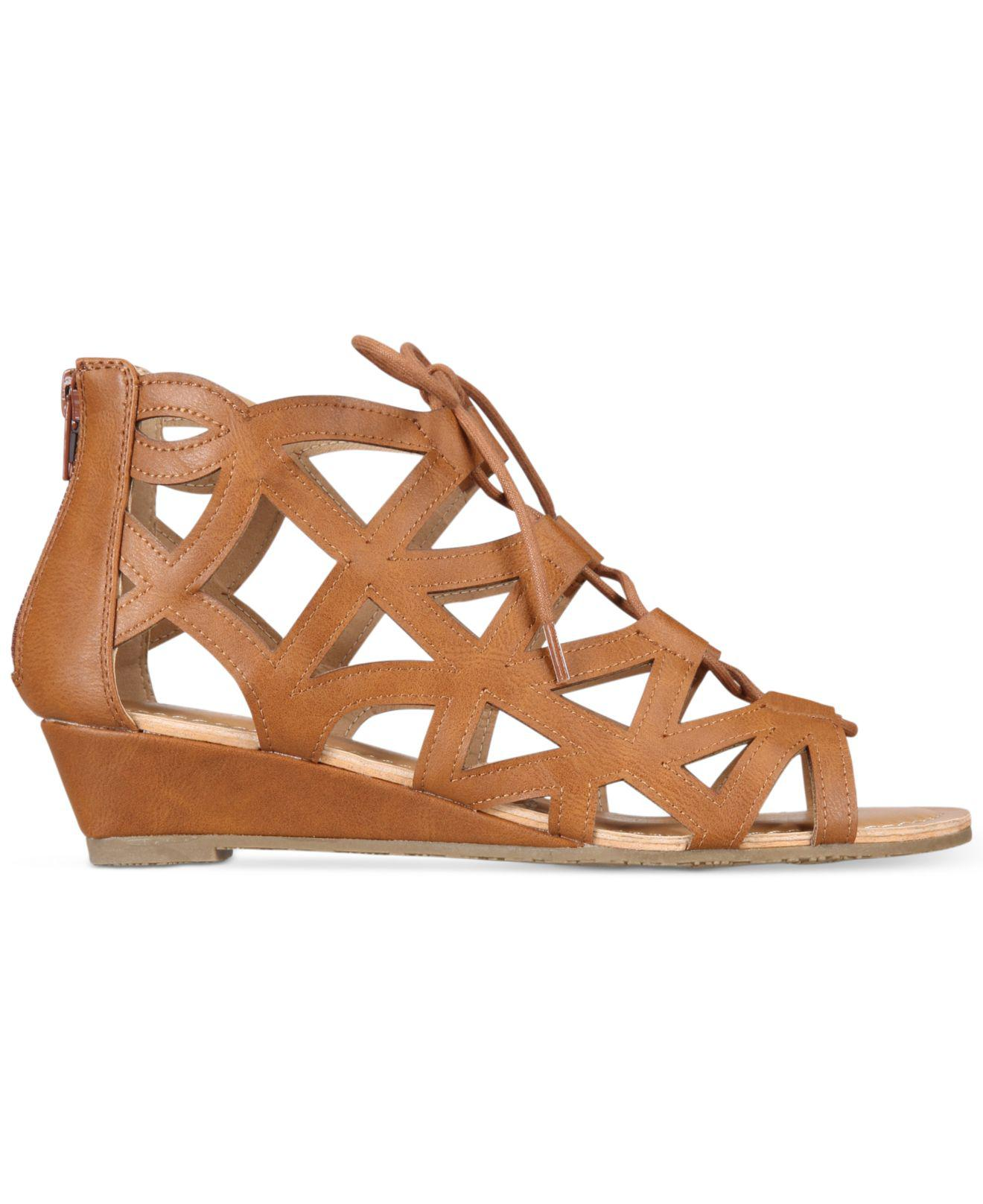3d308d3fa5 Esprit Cacey Lace-up Wedge Sandals in Brown - Lyst