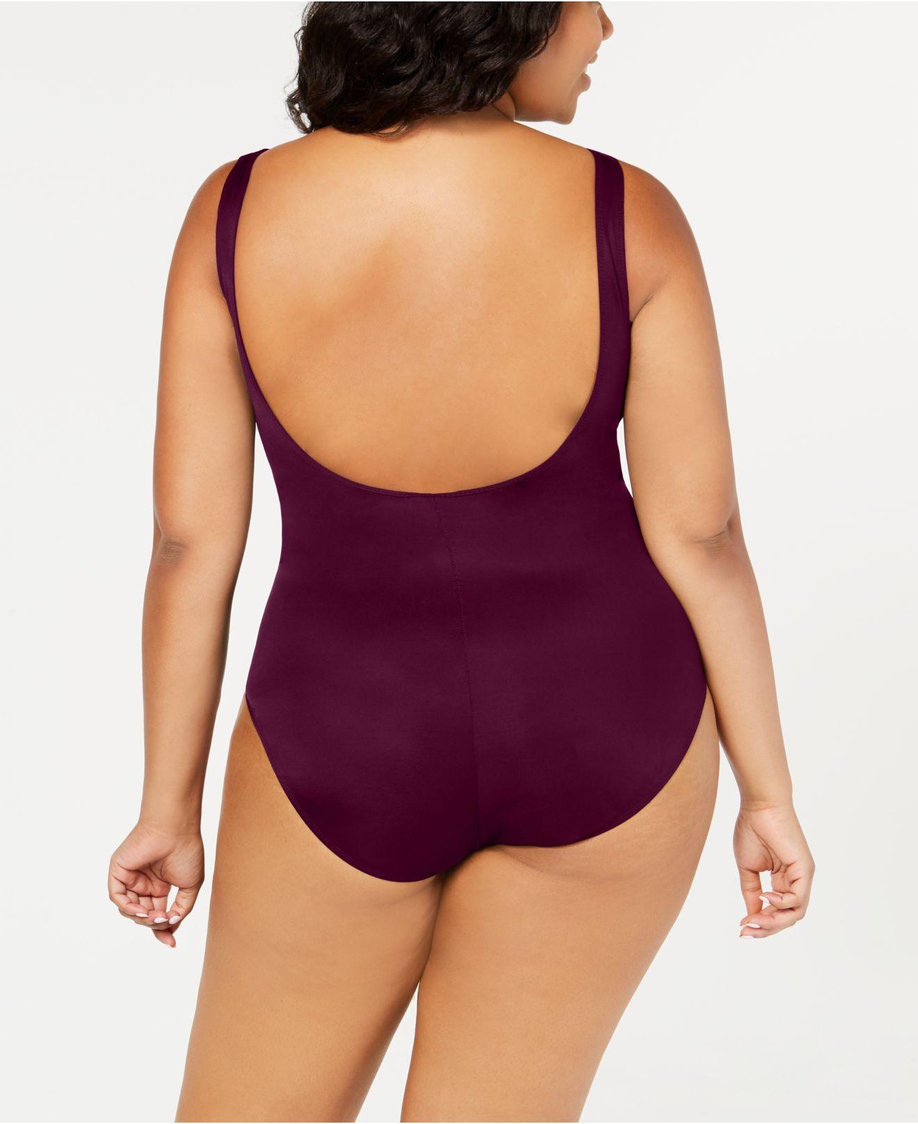 f3f6b58ffe8 Lyst - Miraclesuit Plus Size Escape Underwire Wrap One-piece Swimsuit in  Purple