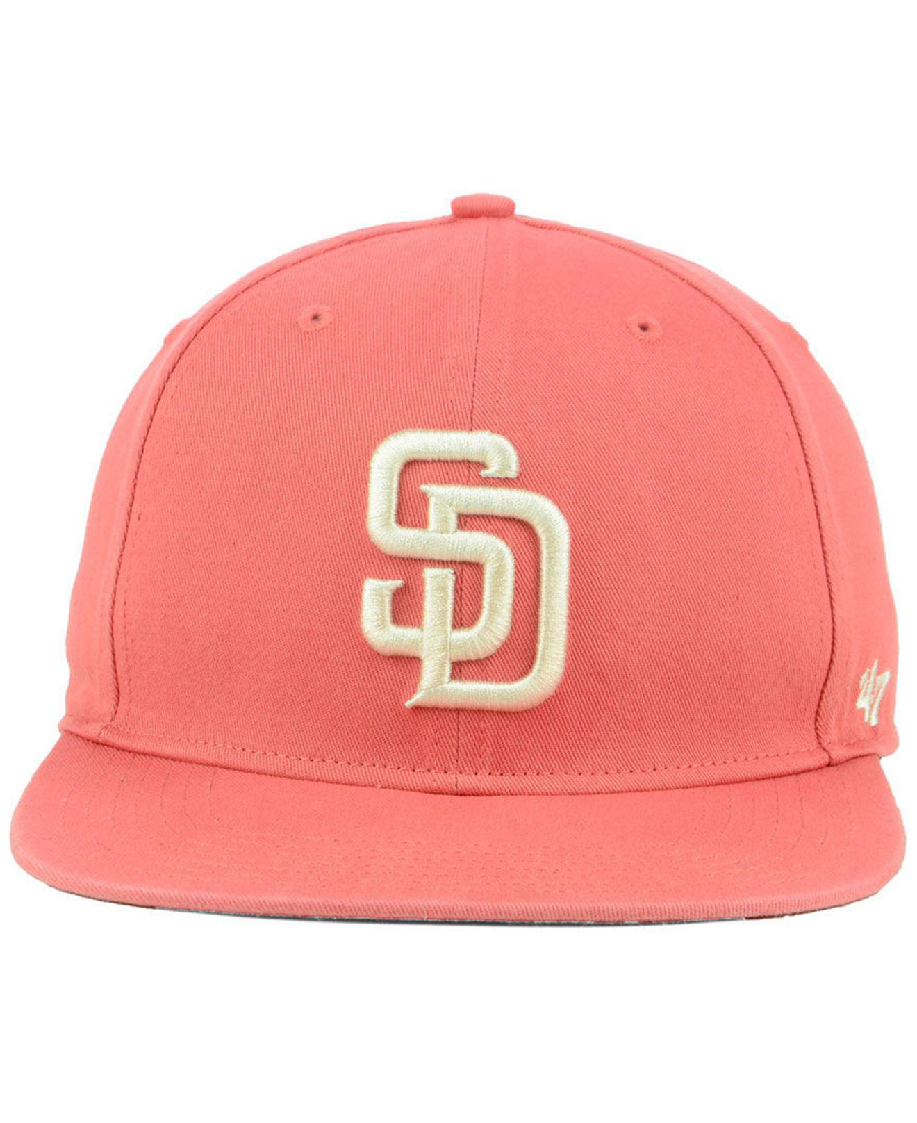 a4e66f64352f38 Lyst - 47 Brand San Diego Padres Island Snapback Cap in Pink