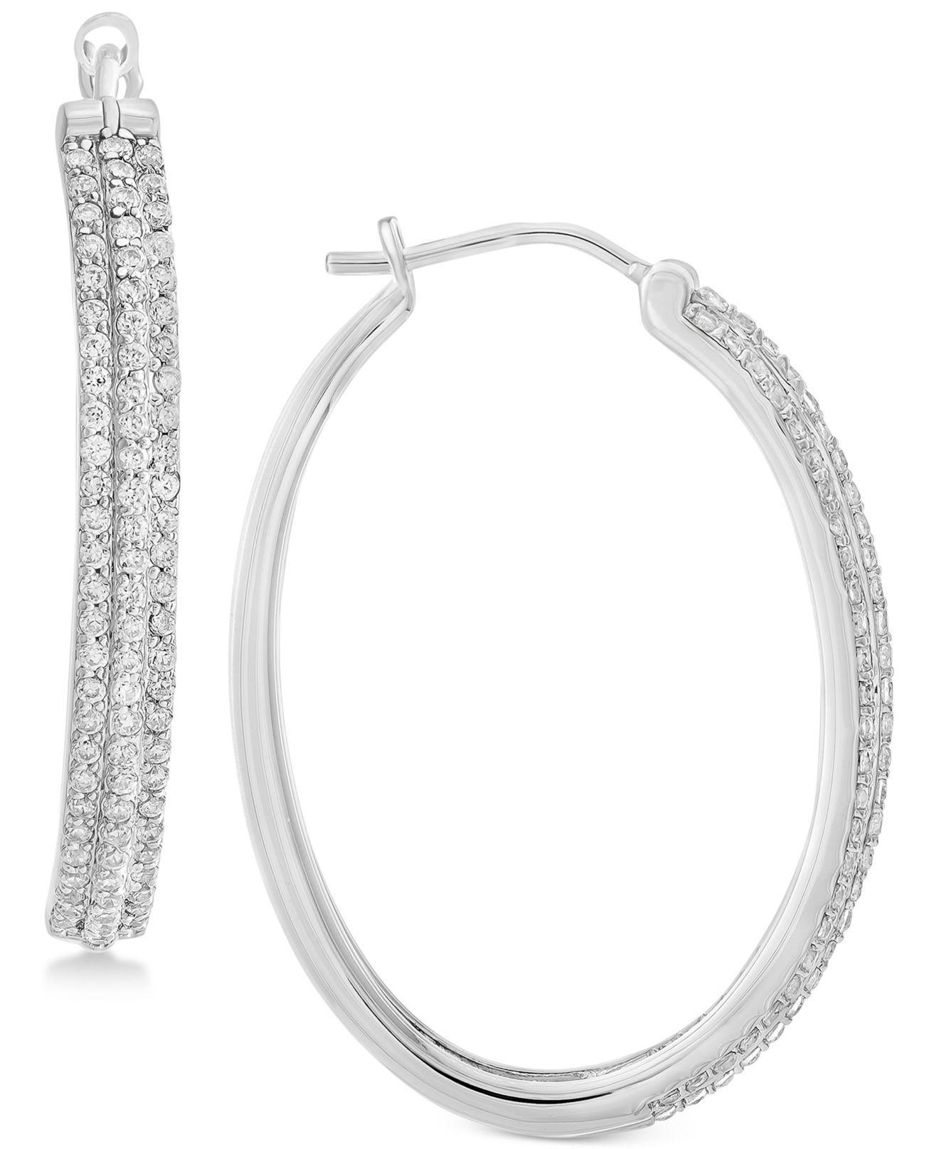 Macy S Women Metallic Diamond Hoop Earrings 1 Ct