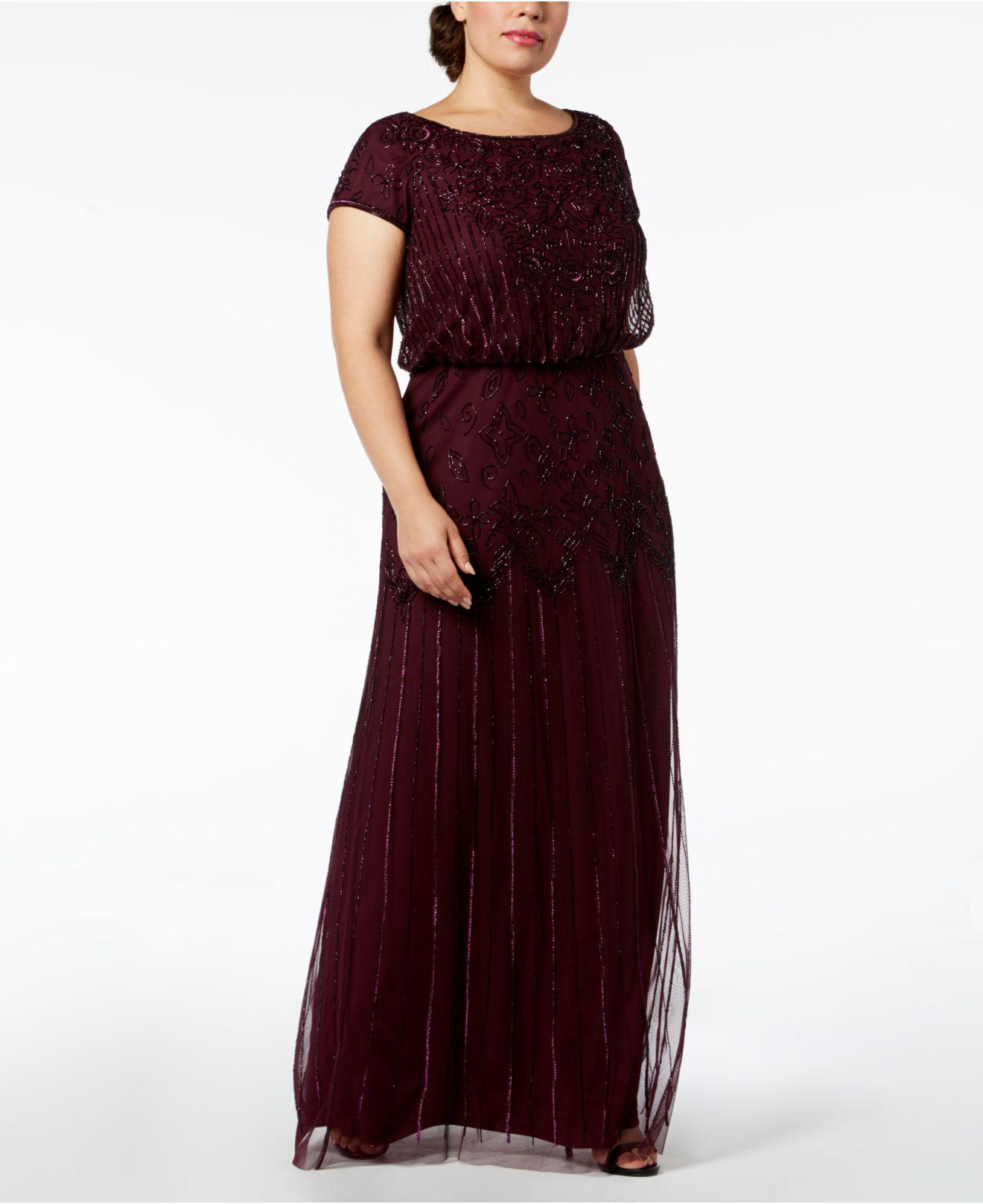 1458fb3bd7c2a Adrianna Papell. Women s Plus Size Bead-illusion Blouson Dress