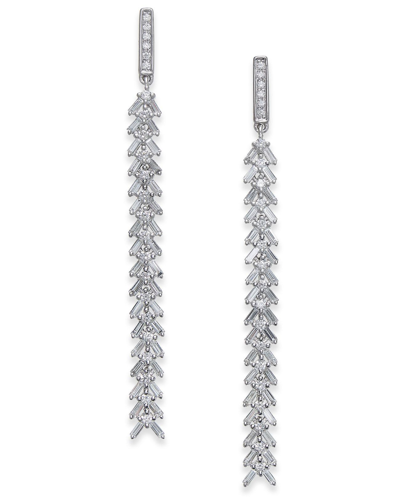 1e03f11bf53 Macy s. Women s Metallic Diamond Cascading Linear Drop Earrings (1 Ct. T.w.)  ...