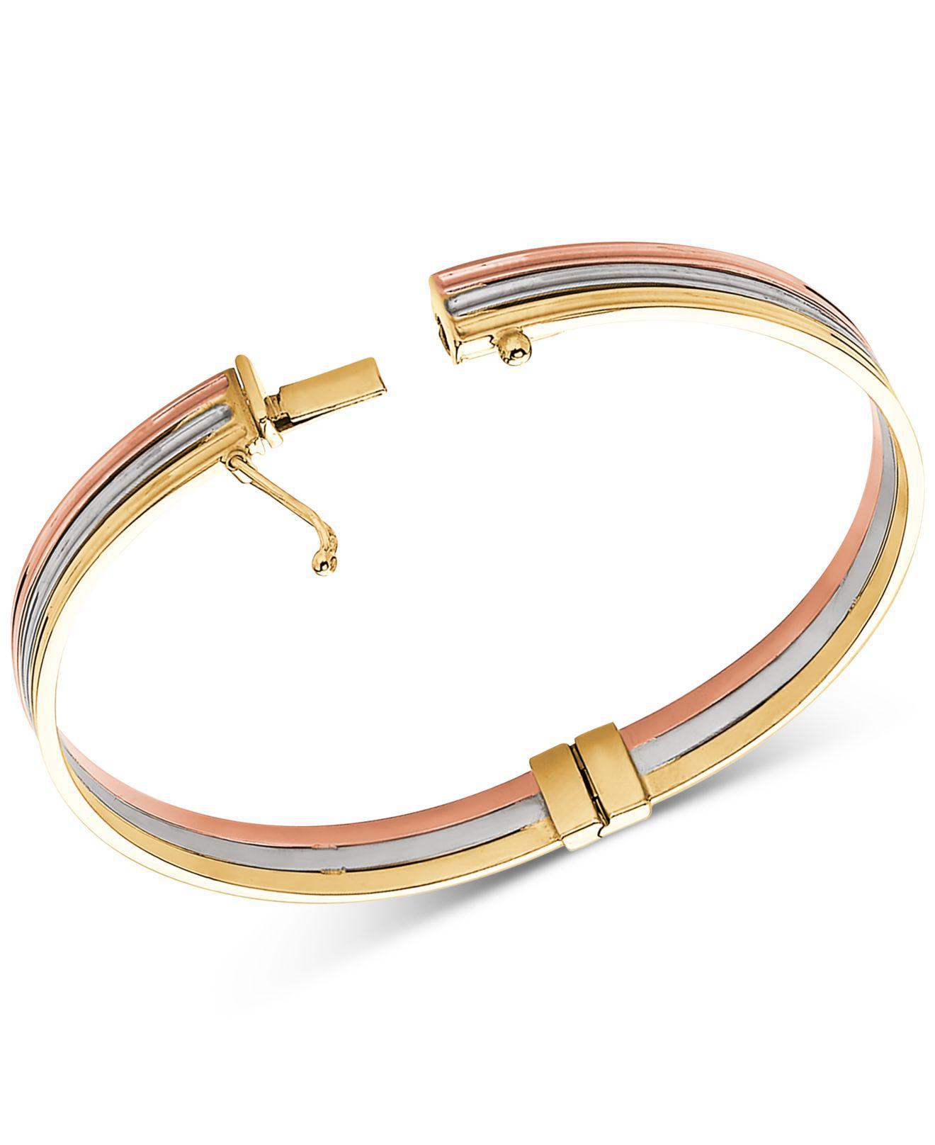 aa061f5ed4630 Women's Metallic Tricolor Stacked Bangle Bracelet In 14k Gold, White Gold &  Rose Gold