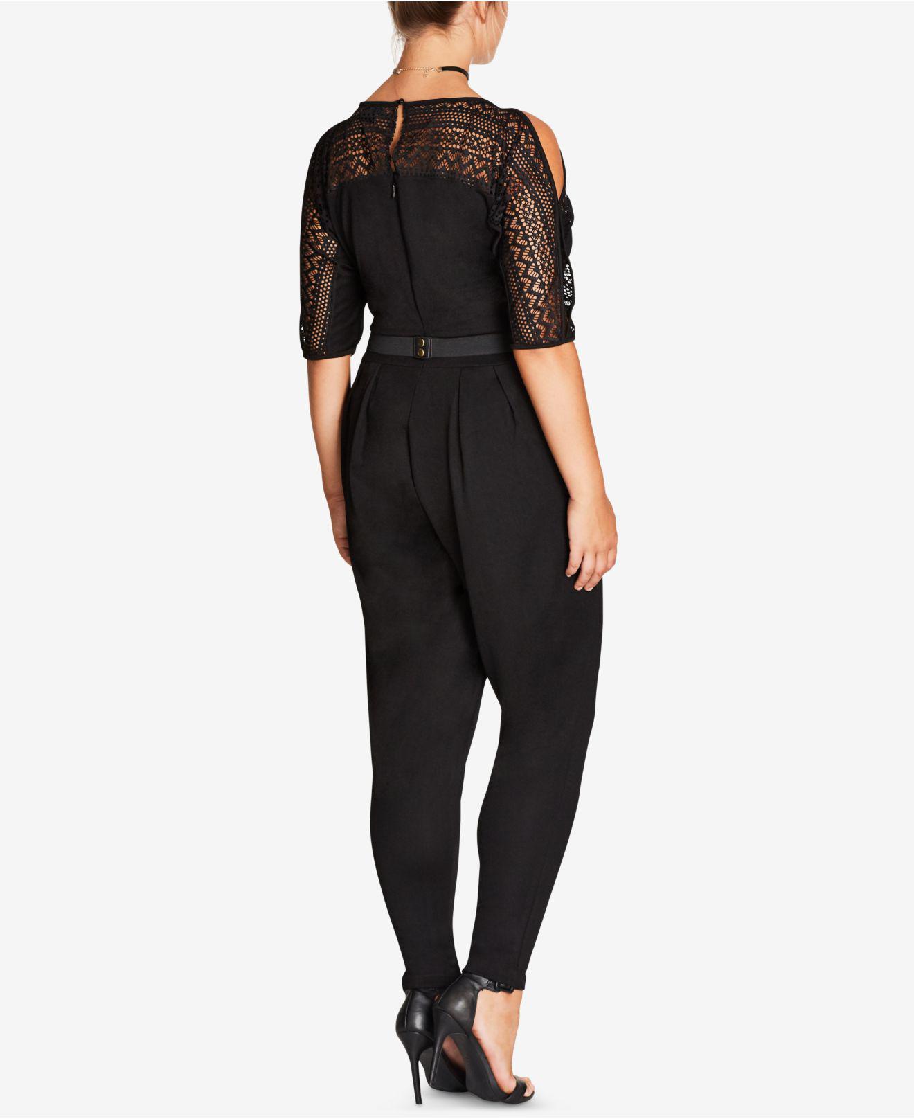 Lyst City Chic Trendy Plus Size Lace Trim Jumpsuit In Black