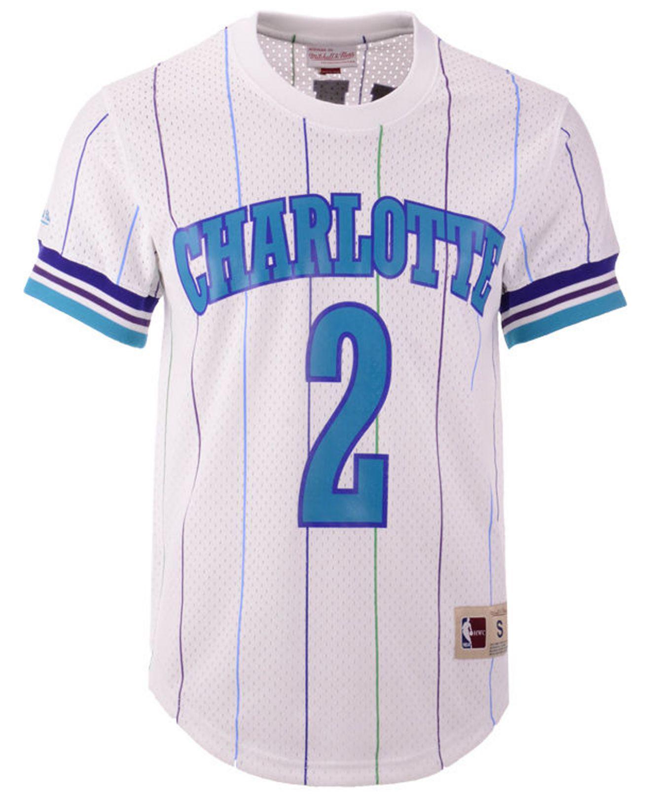official photos af787 646df Men's White Larry Johnson Charlotte Hornets Name And Number Mesh Crewneck  Jersey