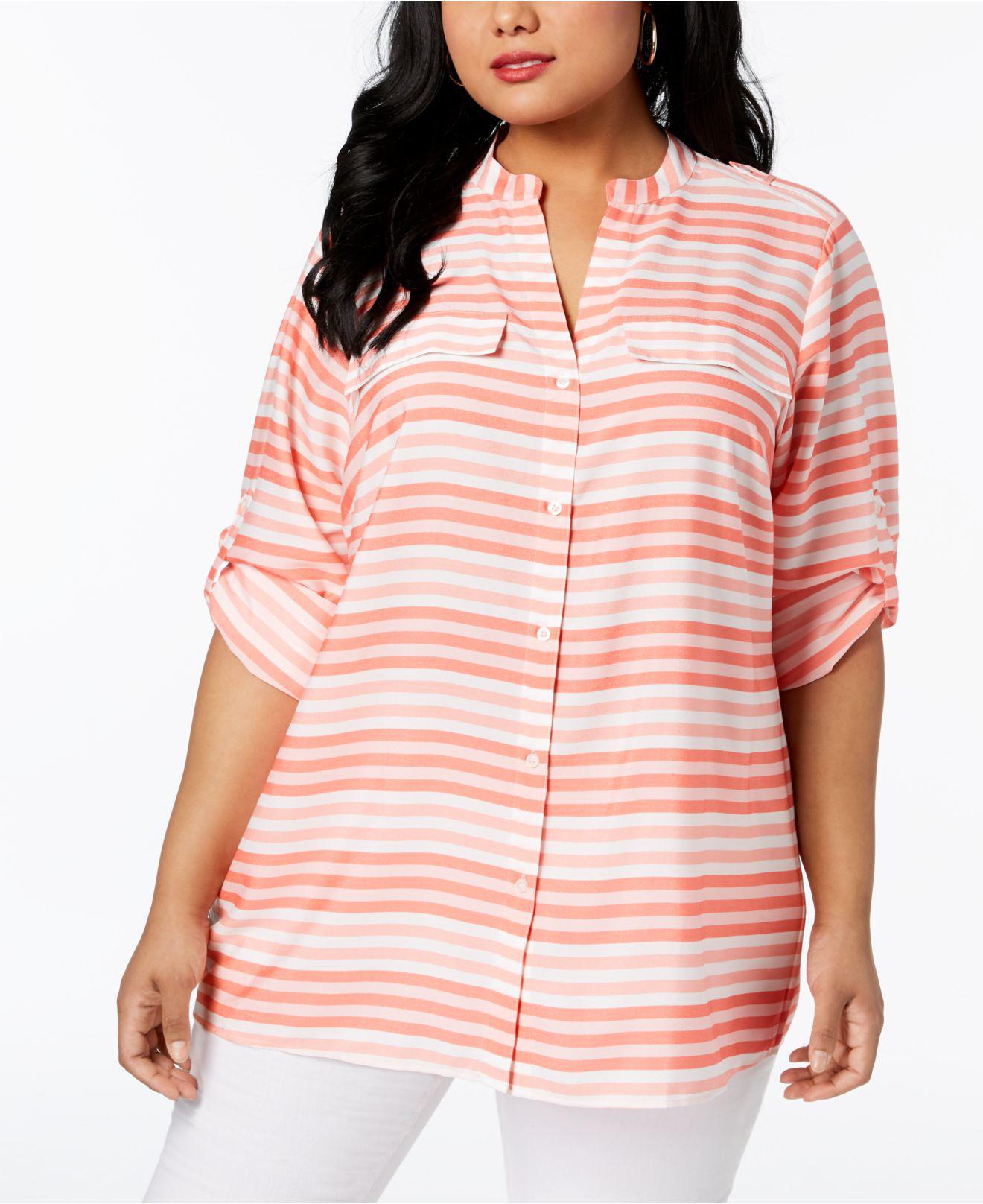 48de38f458c Calvin Klein Plus Size Striped Tunic Shirt in Pink - Lyst