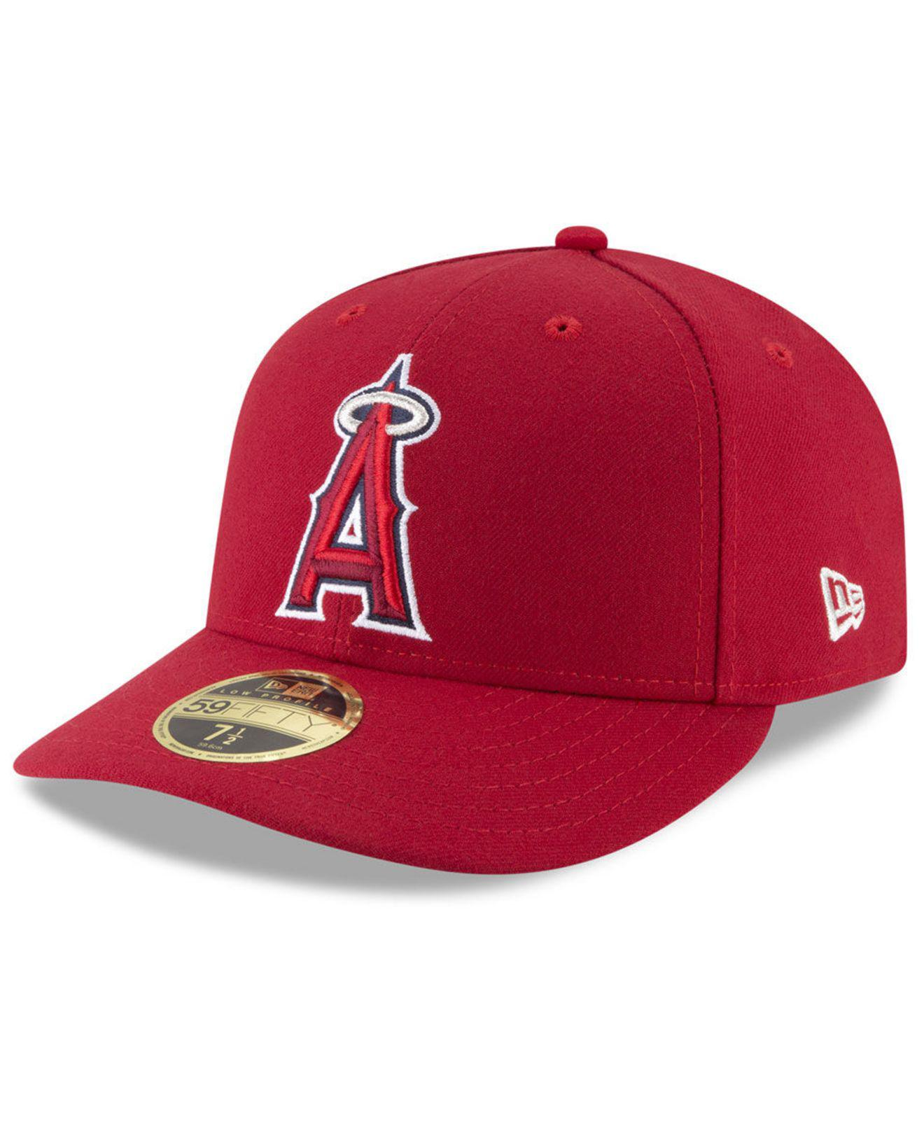 sports shoes b790b b3f65 KTZ. Men s Red Los Angeles Angels Low Profile Ac Performance 59fifty Fitted  Cap