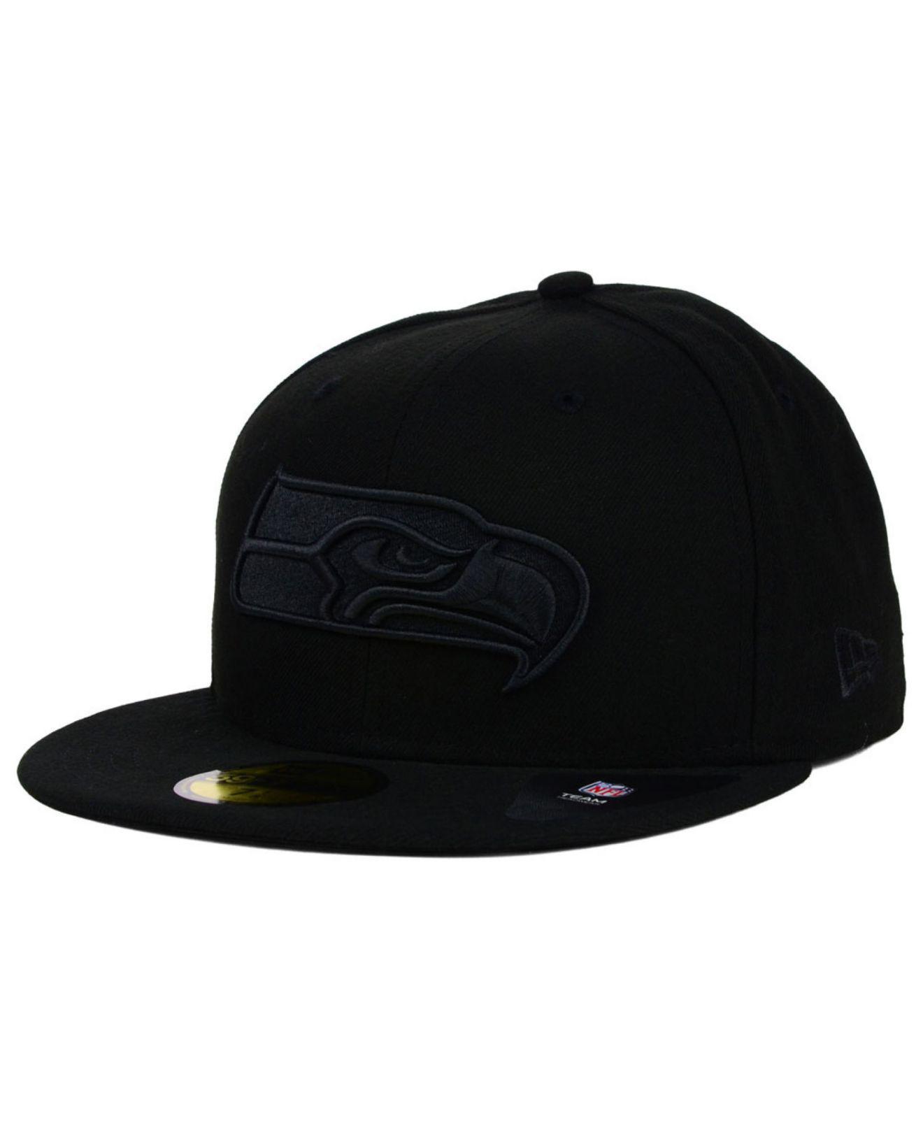KTZ - Seattle Seahawks Black On Black 59fifty Cap for Men - Lyst. View  fullscreen b16fcf187