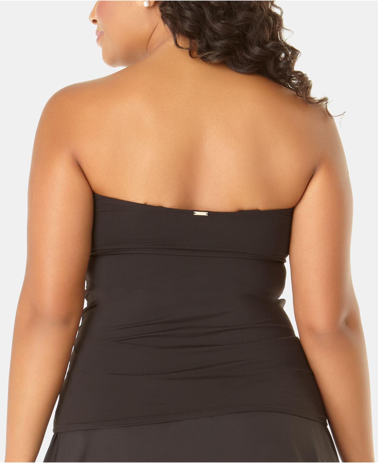 d79bd88a8a0de Lyst - Anne Cole Plus Size Live In Color Twist-front Bandeau Tankini Top in  Black