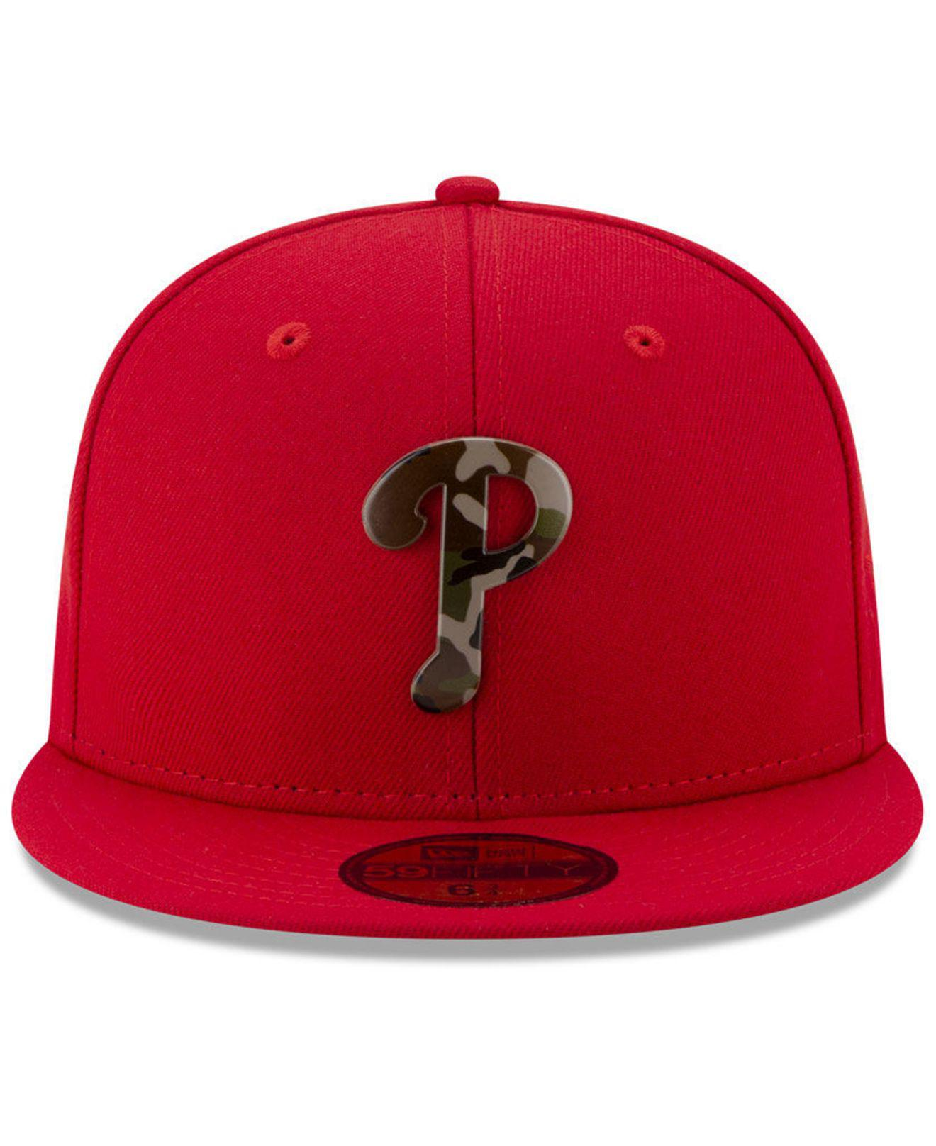sale retailer a482b 4a938 Lyst - KTZ Philadelphia Phillies Camo Capped 59fifty-fitted Cap in Red for  Men